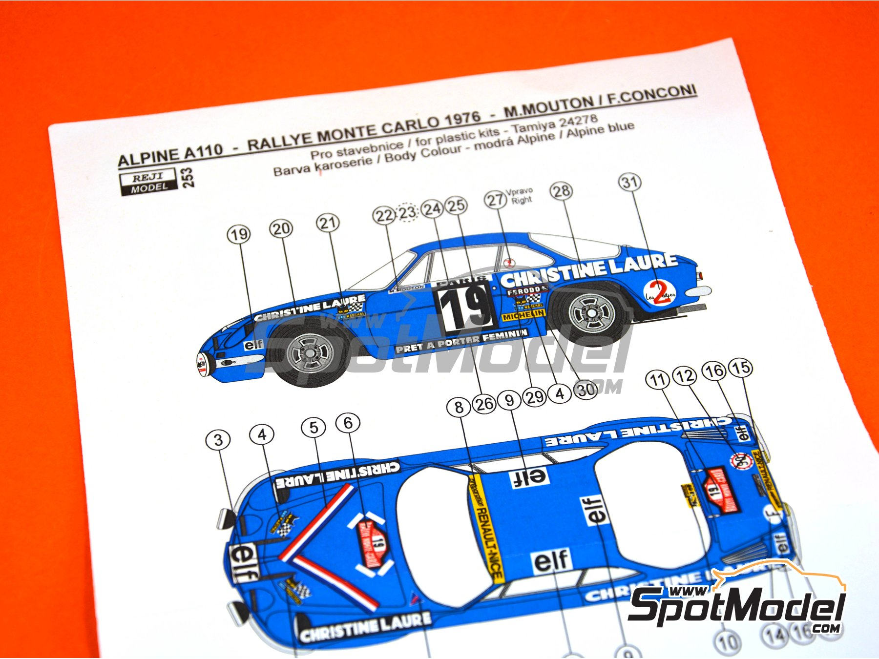 Image 4: Renault Alpine A110 - Montecarlo Rally 1976 | Marking / livery in 1/24 scale manufactured by Reji Model (ref. REJI-253)
