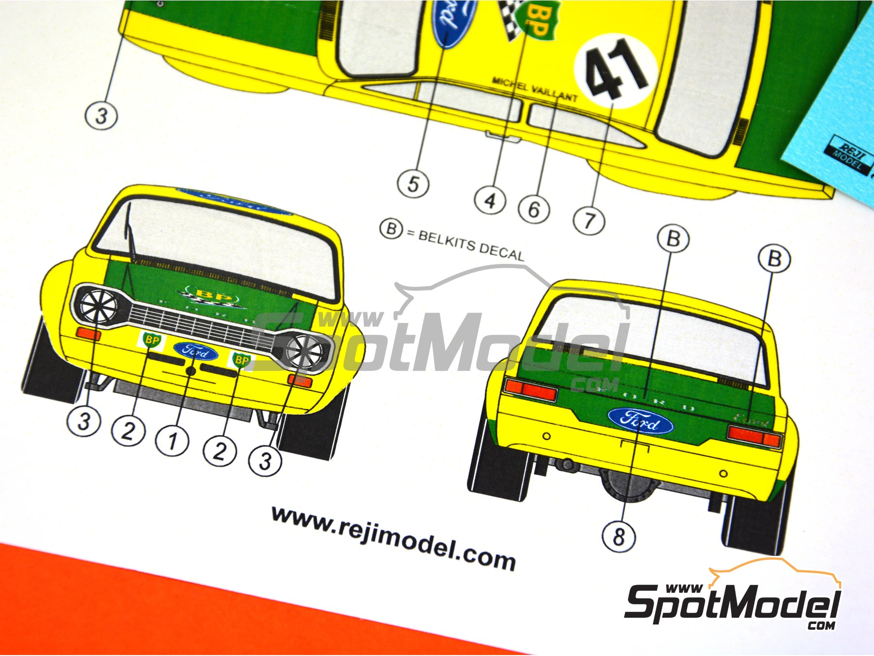 Image 6: Ford Escort Mk. I RS BP - Coupes de SPA 1971 | Decoración en escala 1/24 fabricado por Reji Model (ref. REJI-254)