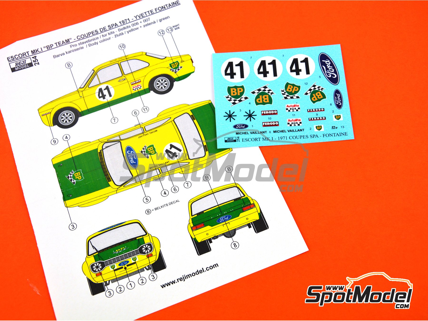 Image 7: Ford Escort Mk. I RS - Coupes de SPA 1971 | Marking / livery in 1/24 scale manufactured by Reji Model (ref. REJI-254)