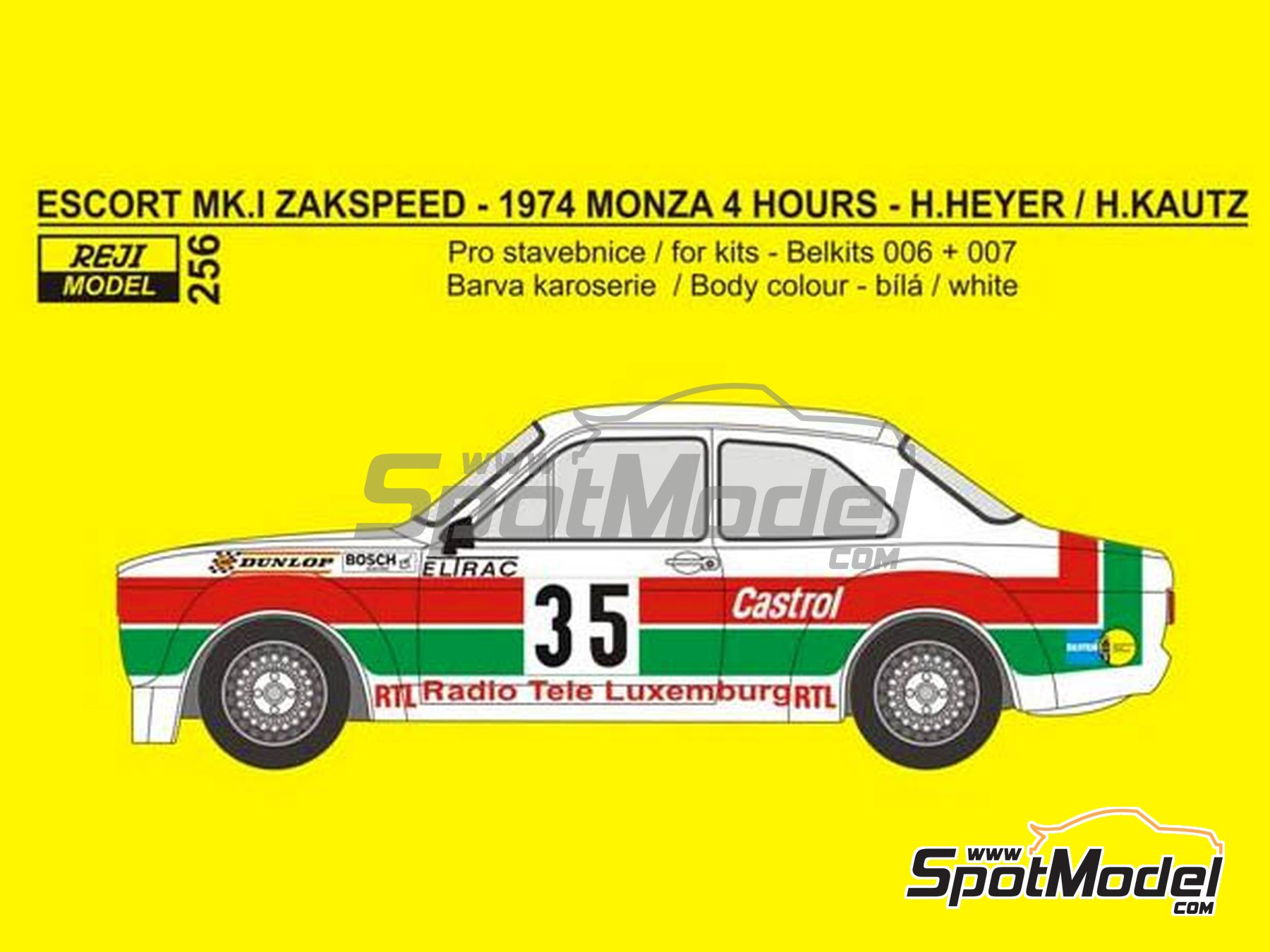 Image 1: Ford Escort Mk. I Zakspeed RTL - 4 Hours Monza 1974 | Marking / livery in 1/24 scale manufactured by Reji Model (ref. REJI-256)