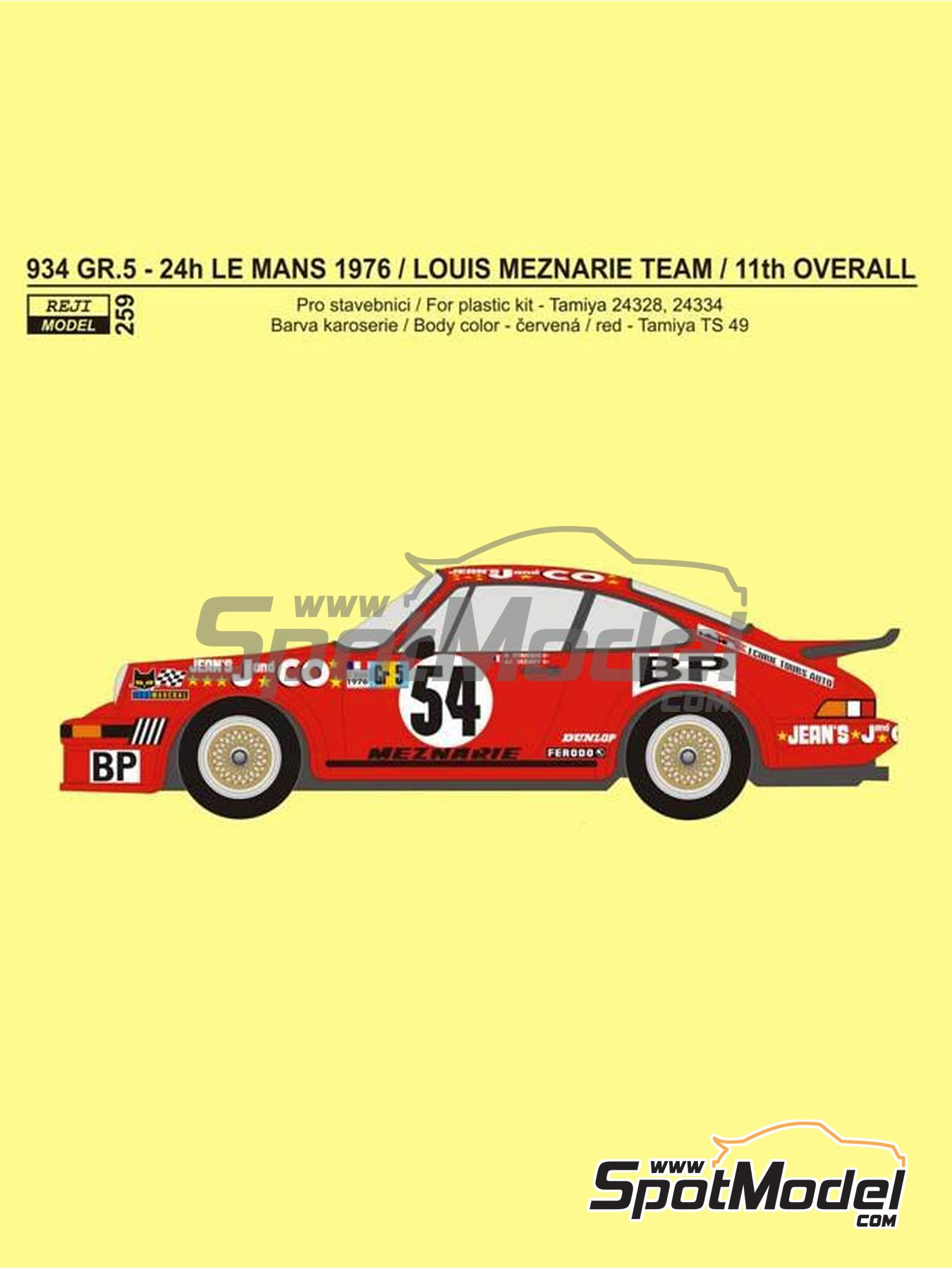 Porsche 934 Group 5 Meznaire Team - 24 Hours Le Mans 1976 | Marking / livery in 1/24 scale manufactured by Reji Model (ref. REJI-259) image
