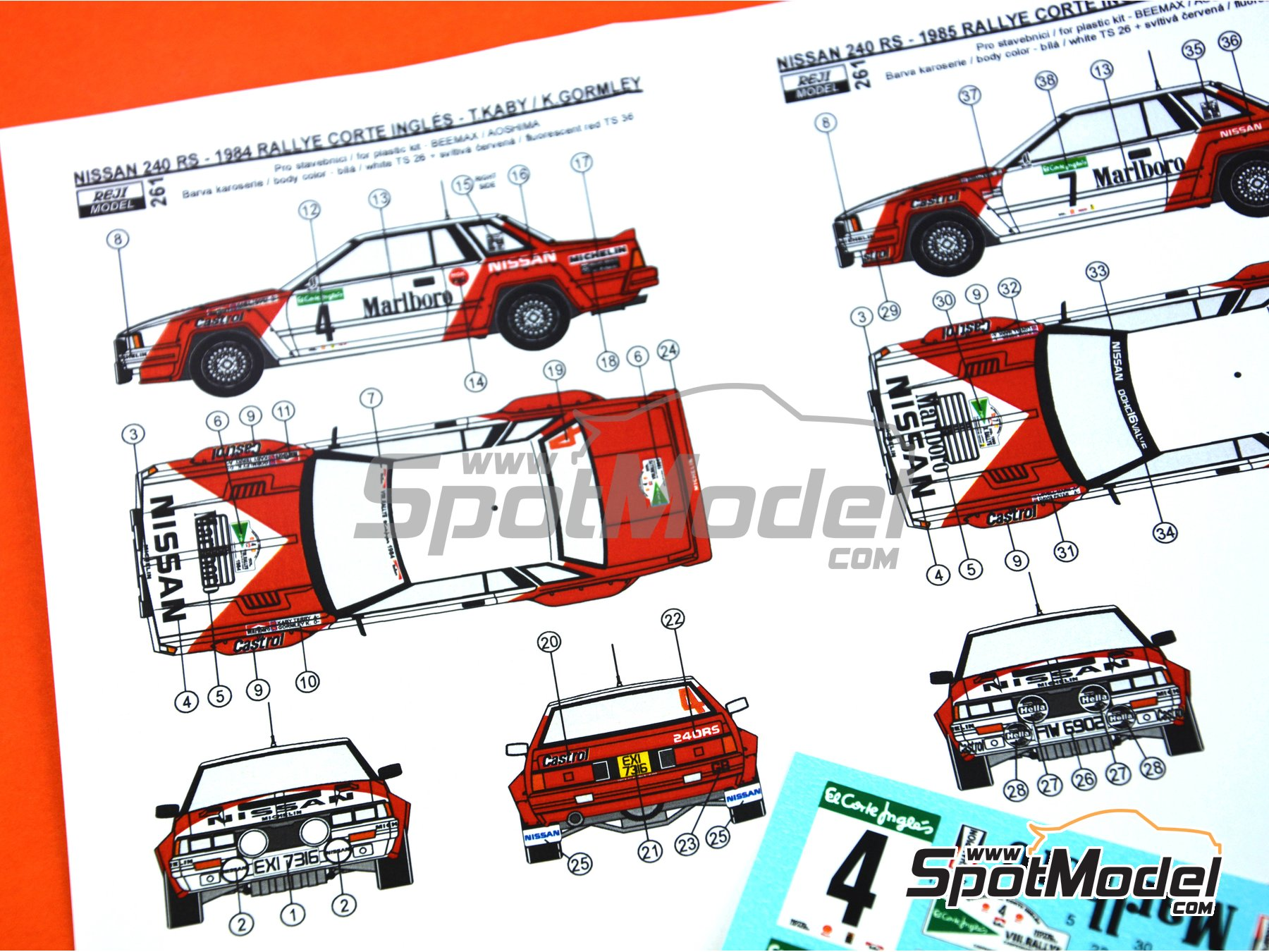 Image 2: Nissan 240RS - Rally El Corte Ingles 1984, 1985 | Decoración en escala 1/24 fabricado por Reji Model (ref. REJI-261)
