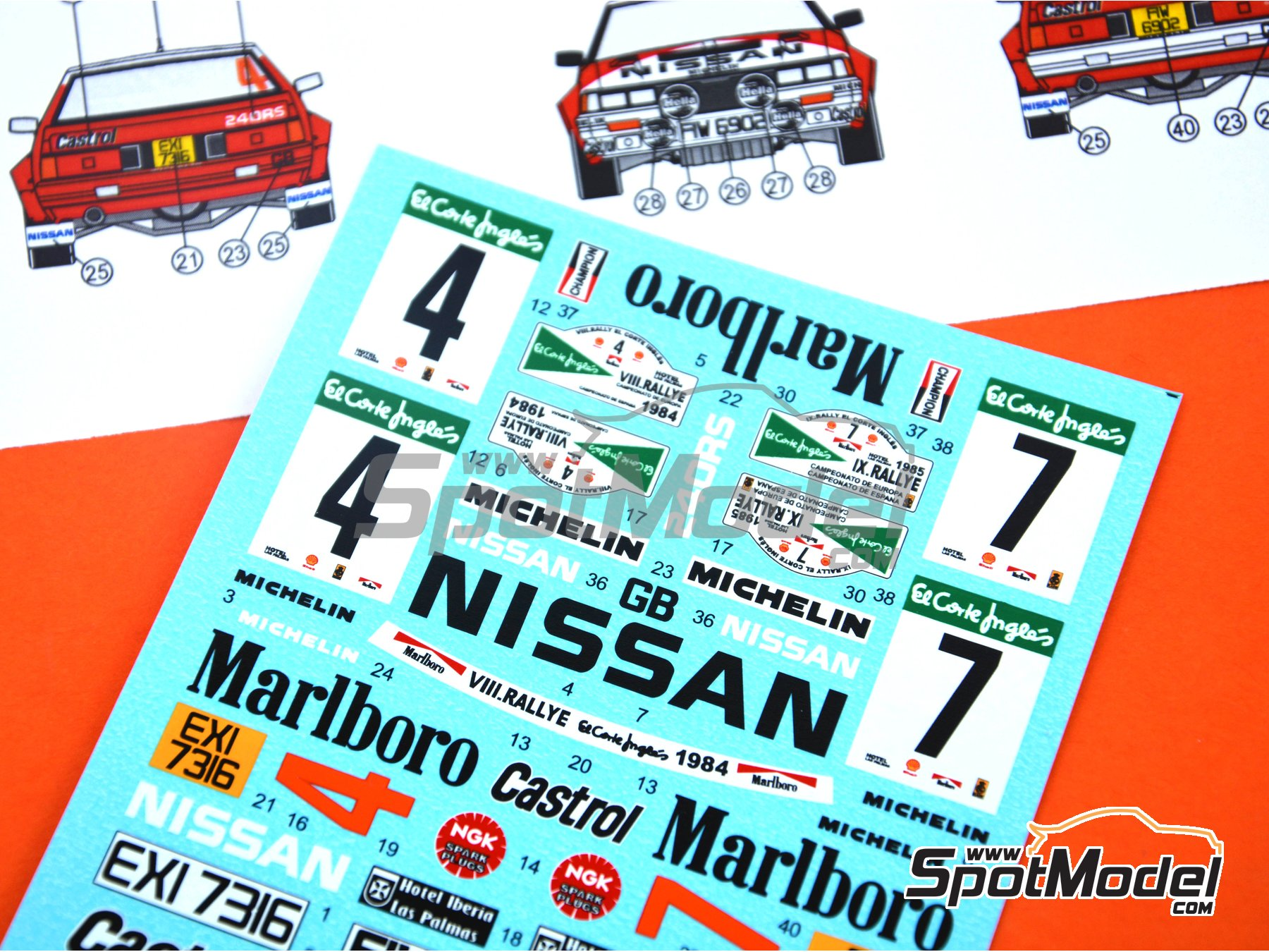 Image 4: Nissan 240RS - Rally El Corte Ingles 1984, 1985 | Decoración en escala 1/24 fabricado por Reji Model (ref. REJI-261)