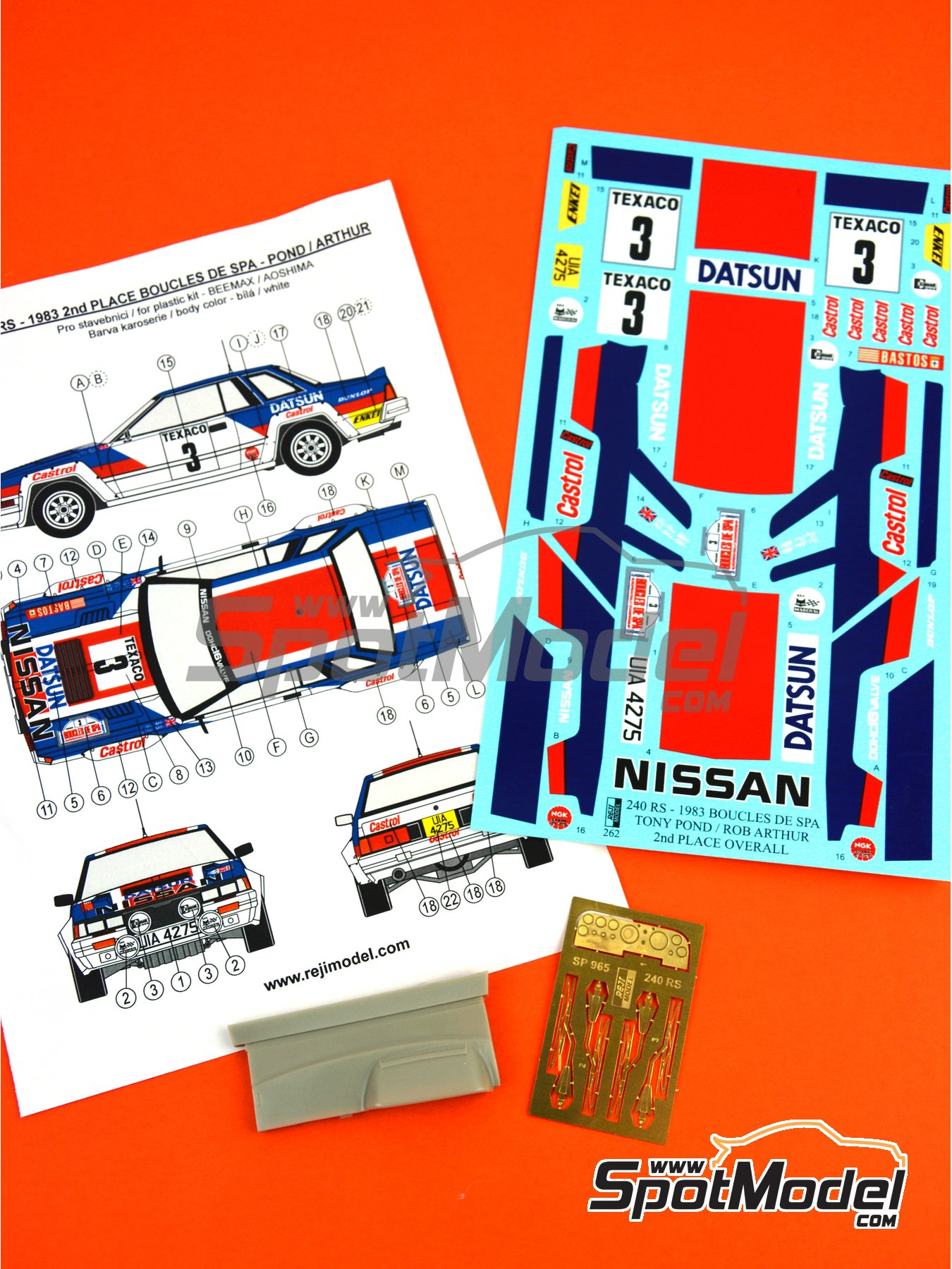 Nissan 240RS Castrol - Boucles de SPA 1983 | Decoración en escala 1/24 fabricado por Reji Model (ref. REJI-262) image