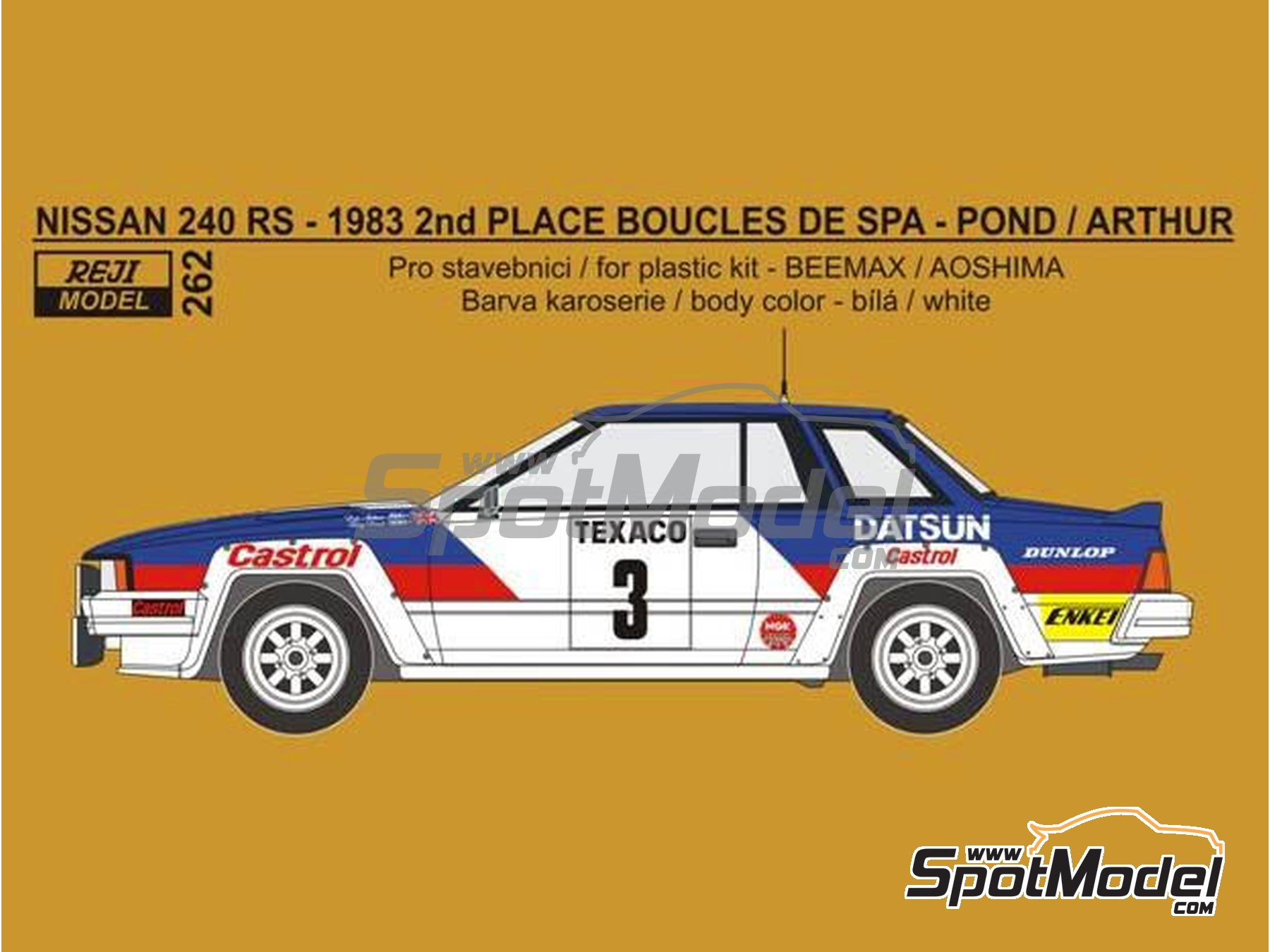 Image 1: Nissan 240RS Castrol - Boucles de SPA 1983 | Decoración en escala 1/24 fabricado por Reji Model (ref. REJI-262)