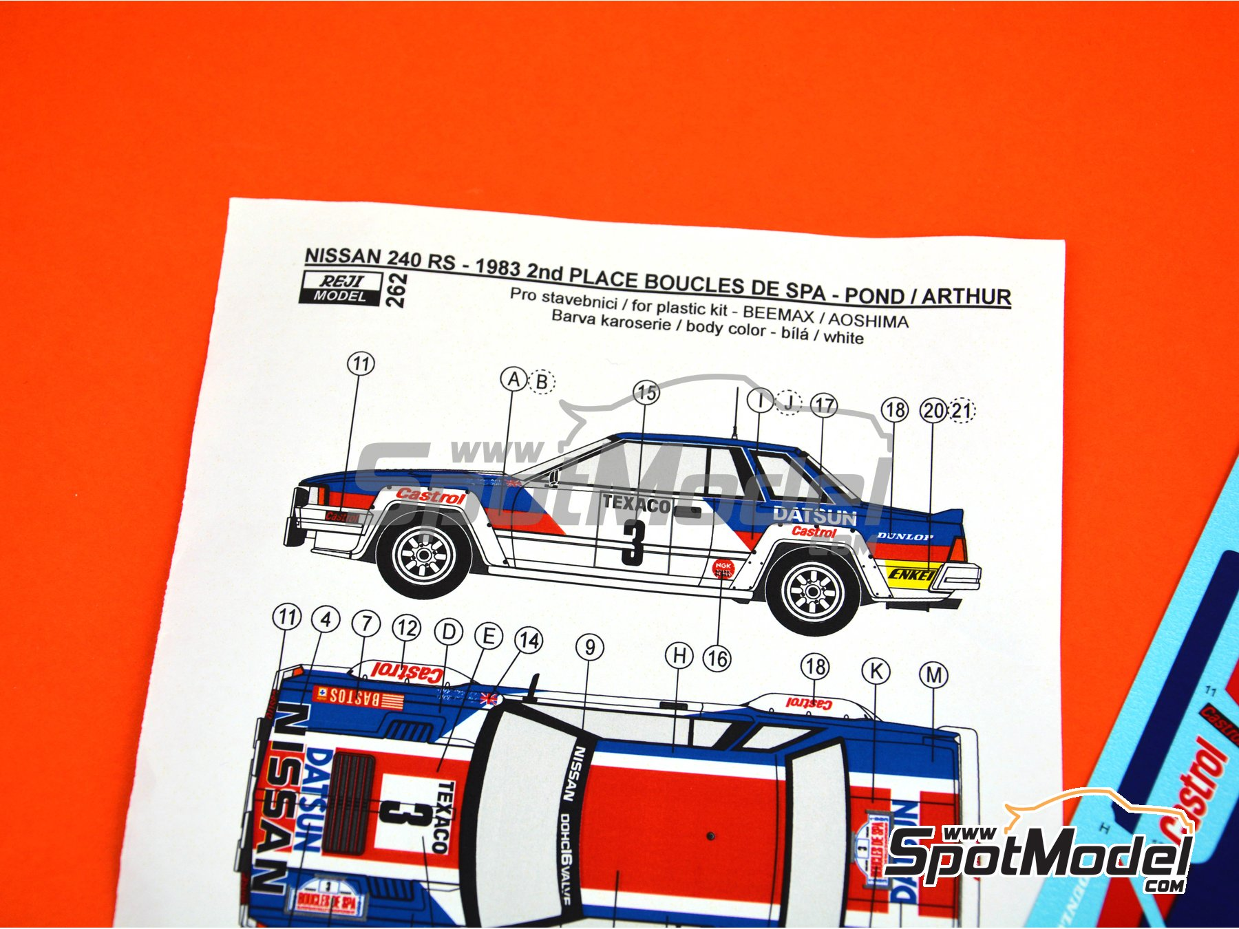 Image 4: Nissan 240RS Castrol - Boucles de SPA 1983 | Decoración en escala 1/24 fabricado por Reji Model (ref. REJI-262)