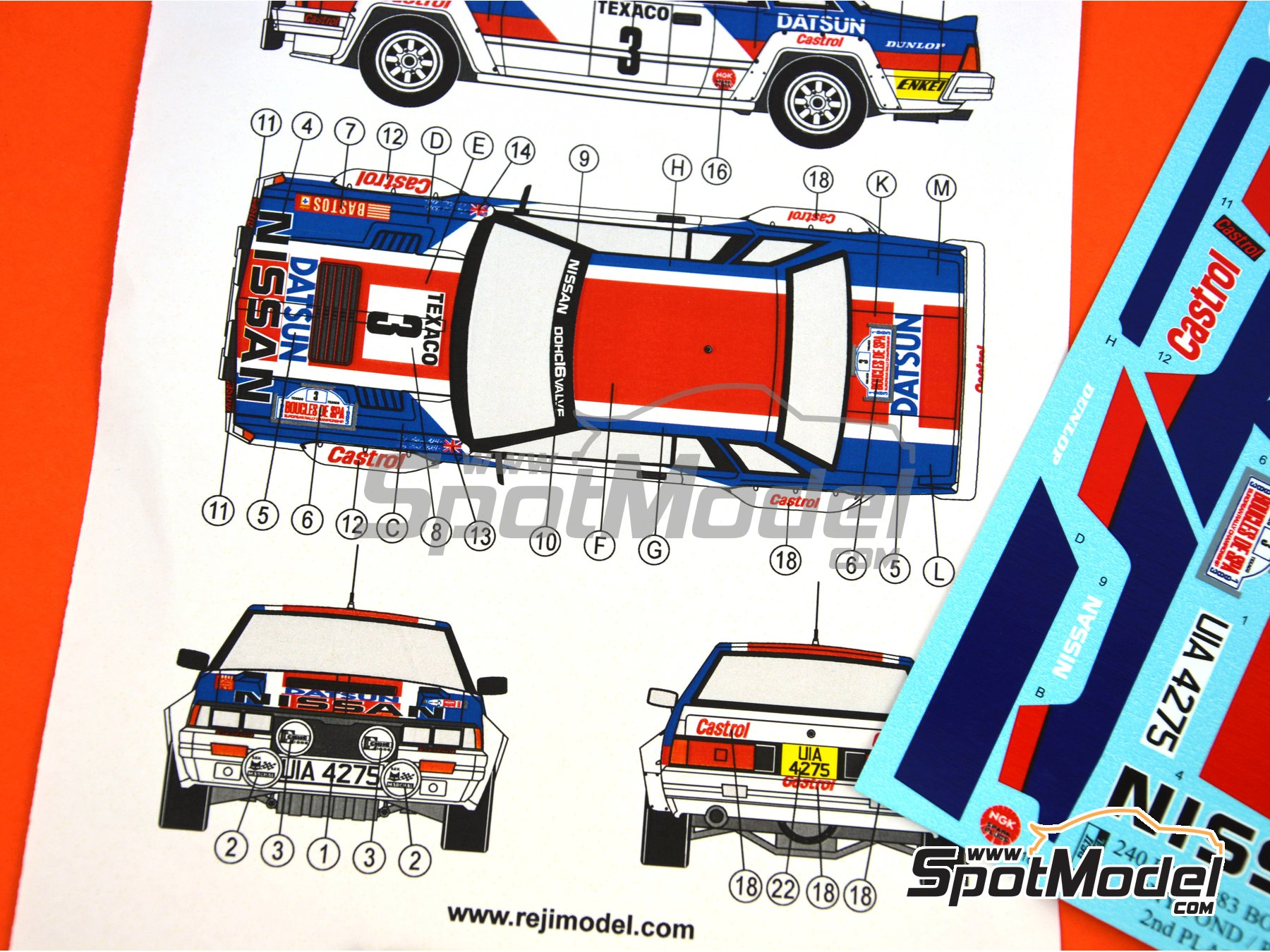 Image 5: Nissan 240RS Castrol - Boucles de SPA 1983 | Decoración en escala 1/24 fabricado por Reji Model (ref. REJI-262)