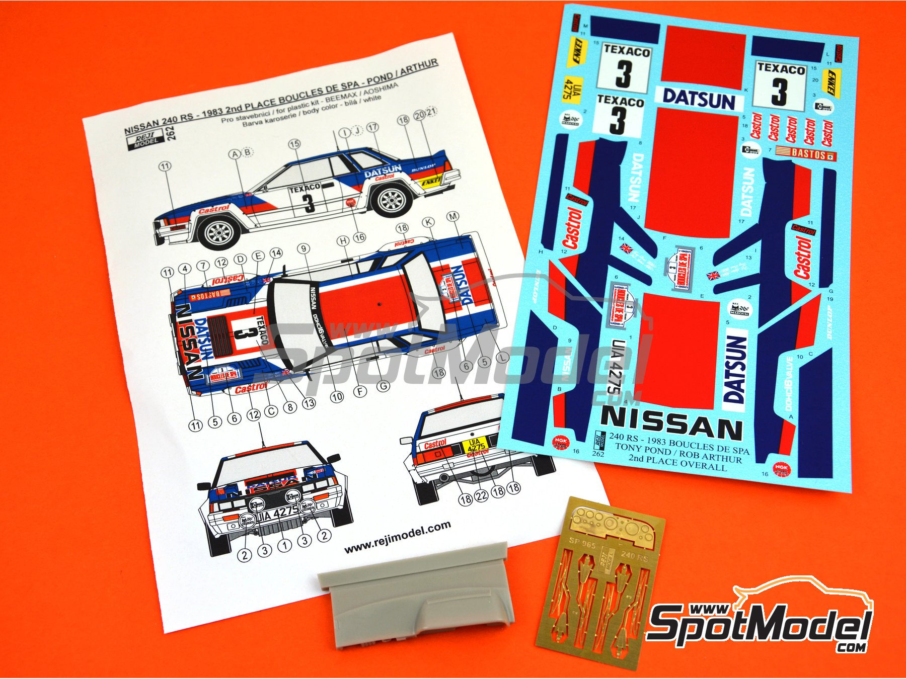 Image 11: Nissan 240RS Castrol - Boucles de SPA 1983 | Decoración en escala 1/24 fabricado por Reji Model (ref. REJI-262)