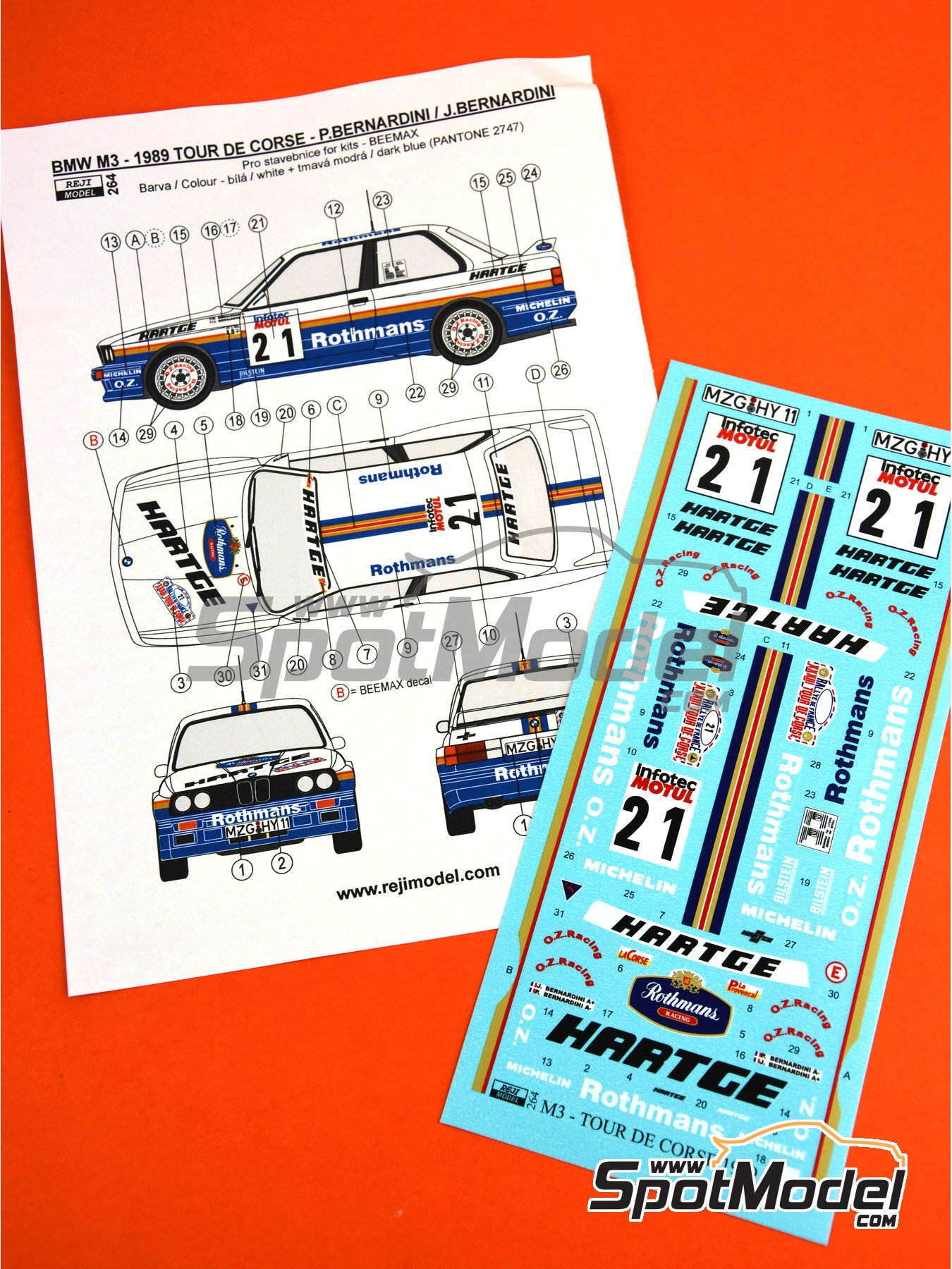 BMW M3 E30 - Rally Tour de Corse 1989 | Decoración en escala 1/24 fabricado por Reji Model (ref. REJI-264) image