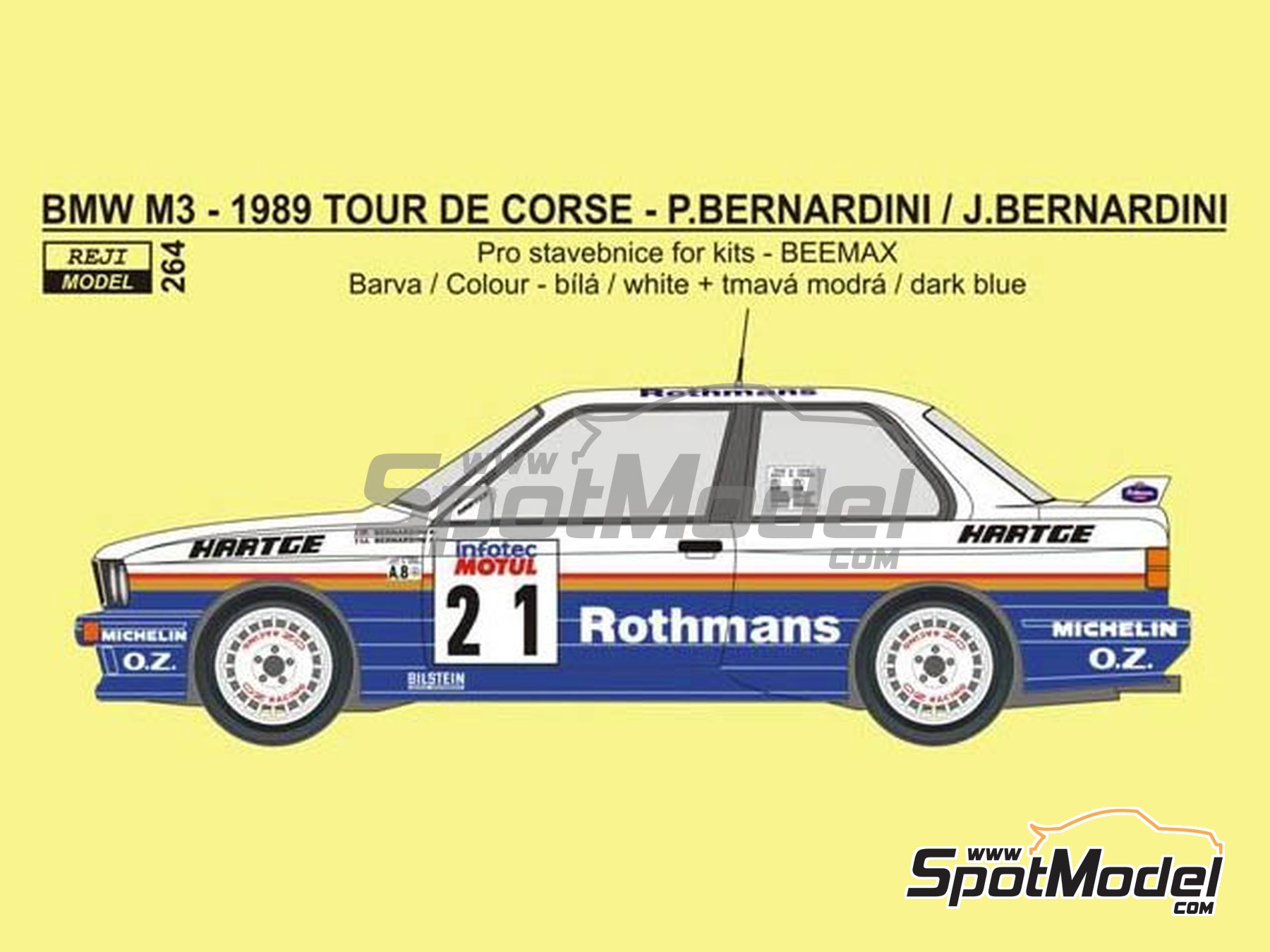 Image 1: BMW M3 E30 - Rally Tour de Corse 1989 | Decoración en escala 1/24 fabricado por Reji Model (ref. REJI-264)
