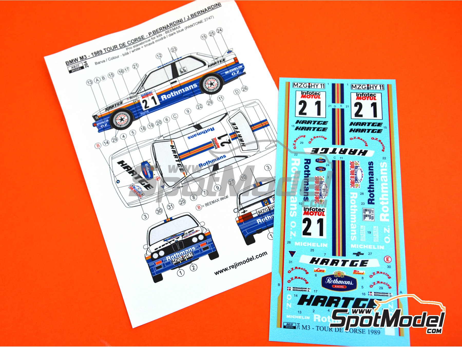 Image 3: BMW M3 E30 - Rally Tour de Corse 1989 | Decoración en escala 1/24 fabricado por Reji Model (ref. REJI-264)