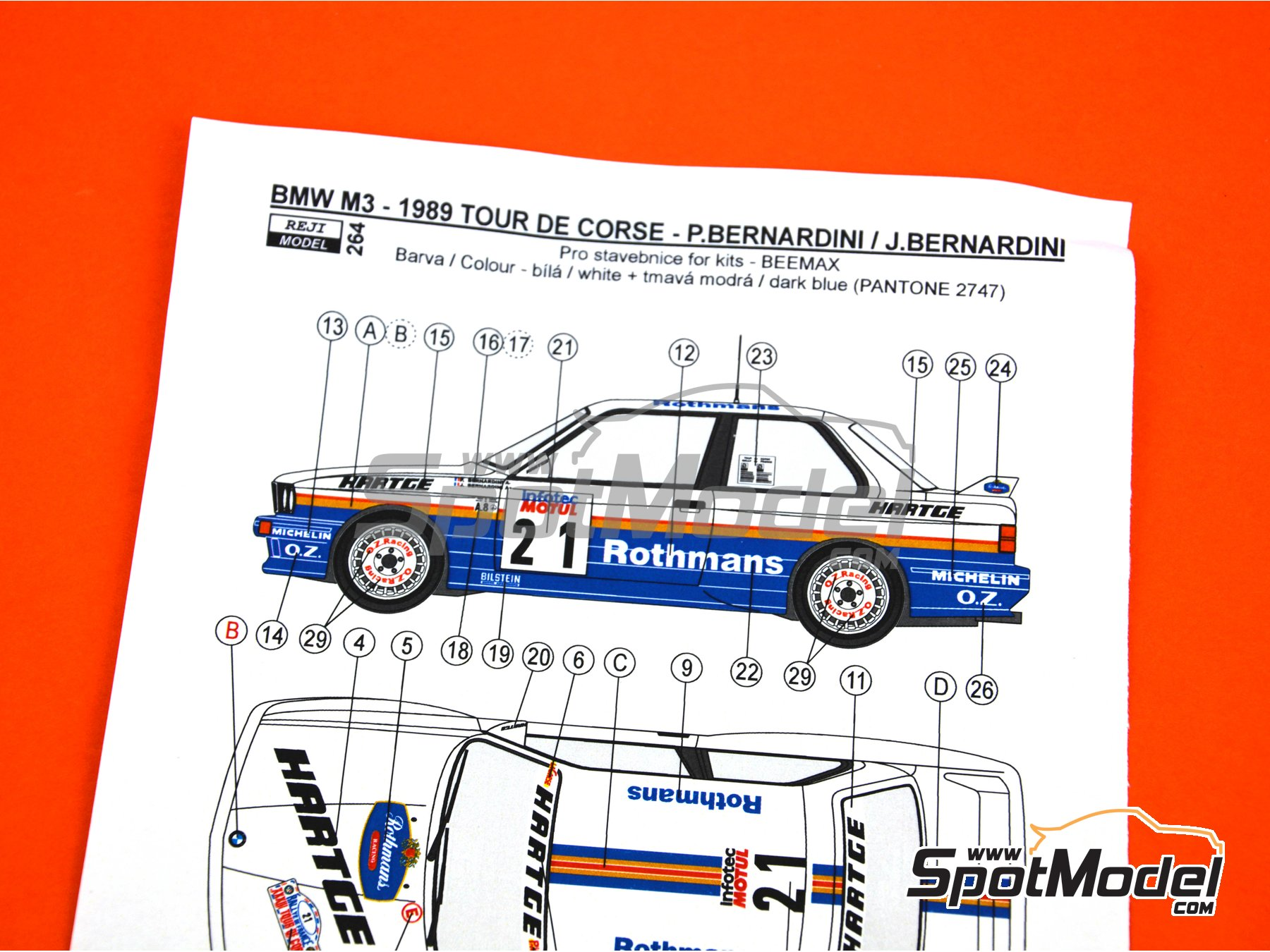 Image 7: BMW M3 E30 - Rally Tour de Corse 1989 | Decoración en escala 1/24 fabricado por Reji Model (ref. REJI-264)