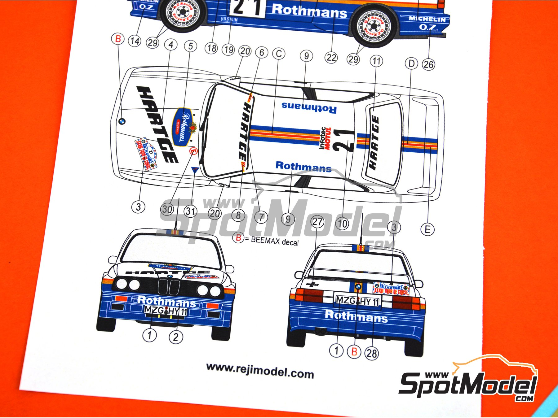Image 8: BMW M3 E30 - Rally Tour de Corse 1989 | Decoración en escala 1/24 fabricado por Reji Model (ref. REJI-264)