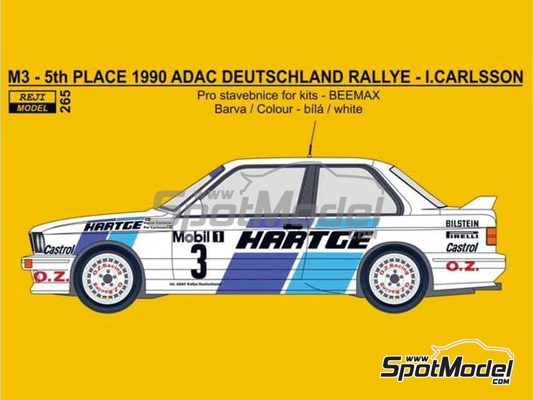 Image 1: BMW M3 E30 Hartge - ADAC Deutschland Rally 1990 | Marking / livery in 1/24 scale manufactured by Reji Model (ref. REJI-265)