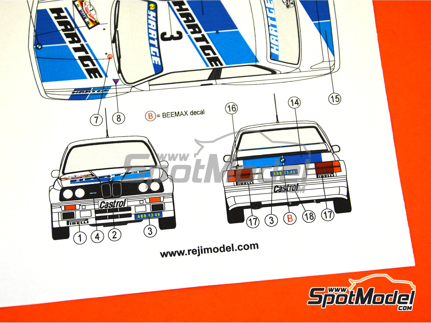 Image 8: BMW M3 E30 Hartge - ADAC Deutschland Rally 1990 | Marking / livery in 1/24 scale manufactured by Reji Model (ref. REJI-265)