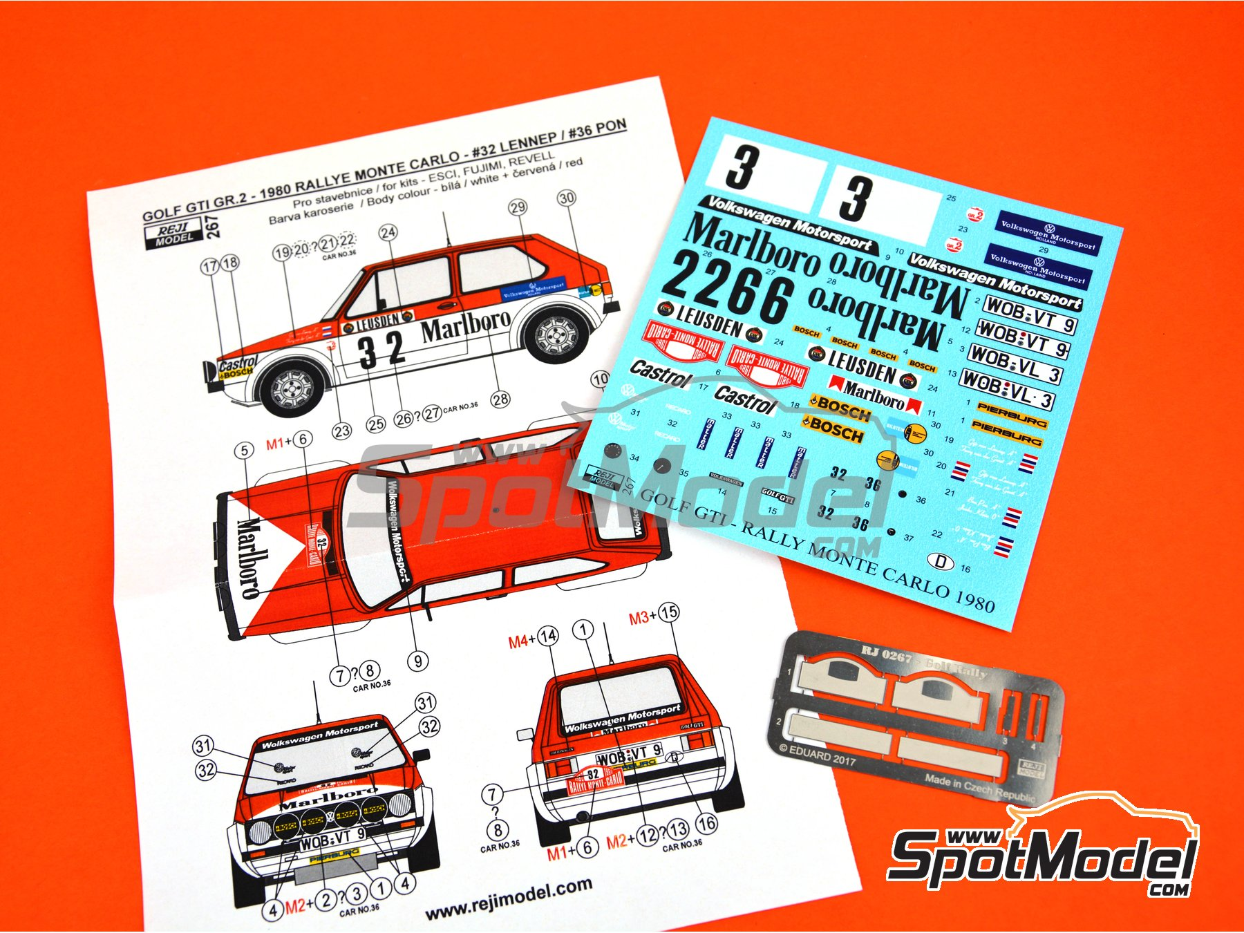 Image 3: Volkswagen Golf GTI Group 2 - Montecarlo Rally 1980 | Marking / livery in 1/24 scale manufactured by Reji Model (ref. REJI-267)