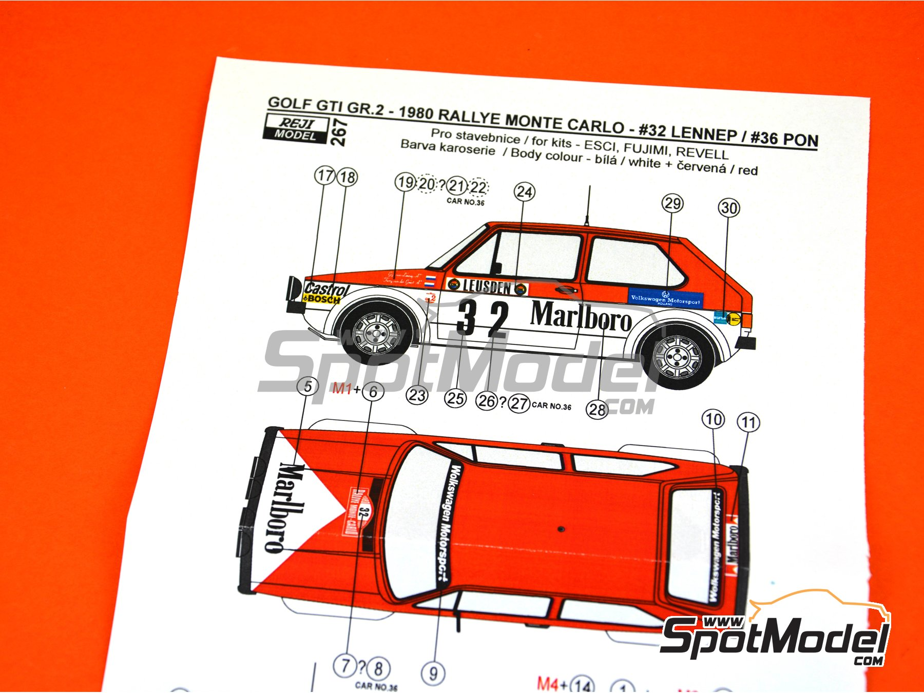 Image 4: Volkswagen Golf GTI Group 2 - Montecarlo Rally 1980 | Marking / livery in 1/24 scale manufactured by Reji Model (ref. REJI-267)
