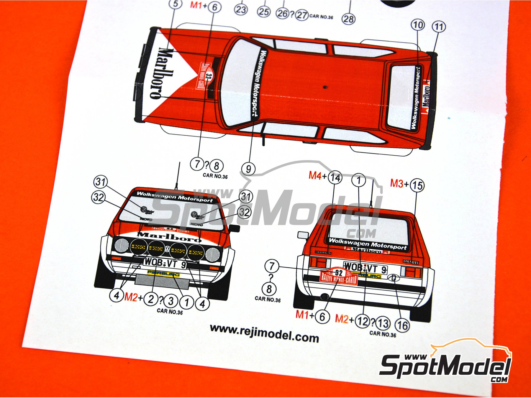 Image 5: Volkswagen Golf GTI Group 2 - Montecarlo Rally 1980 | Marking / livery in 1/24 scale manufactured by Reji Model (ref. REJI-267)