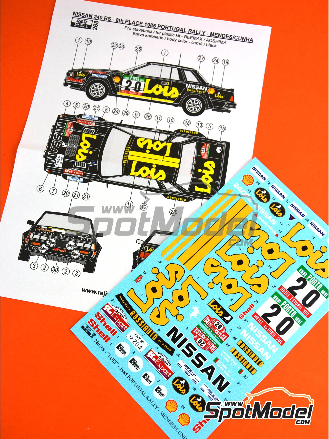 Nissan 240RS BS110 Grupo B Lois - Rally de Portugal 1985 | Decoración en escala 1/24 fabricado por Reji Model (ref. REJI-268) image