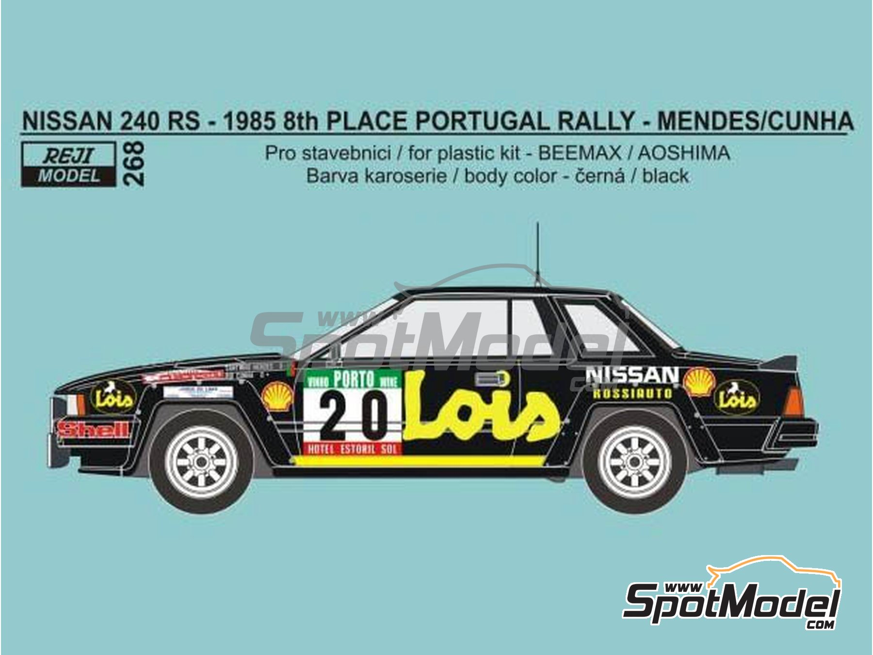 Image 1: Nissan 240RS BS110 Grupo B Lois - Rally de Portugal 1985 | Decoración en escala 1/24 fabricado por Reji Model (ref. REJI-268)