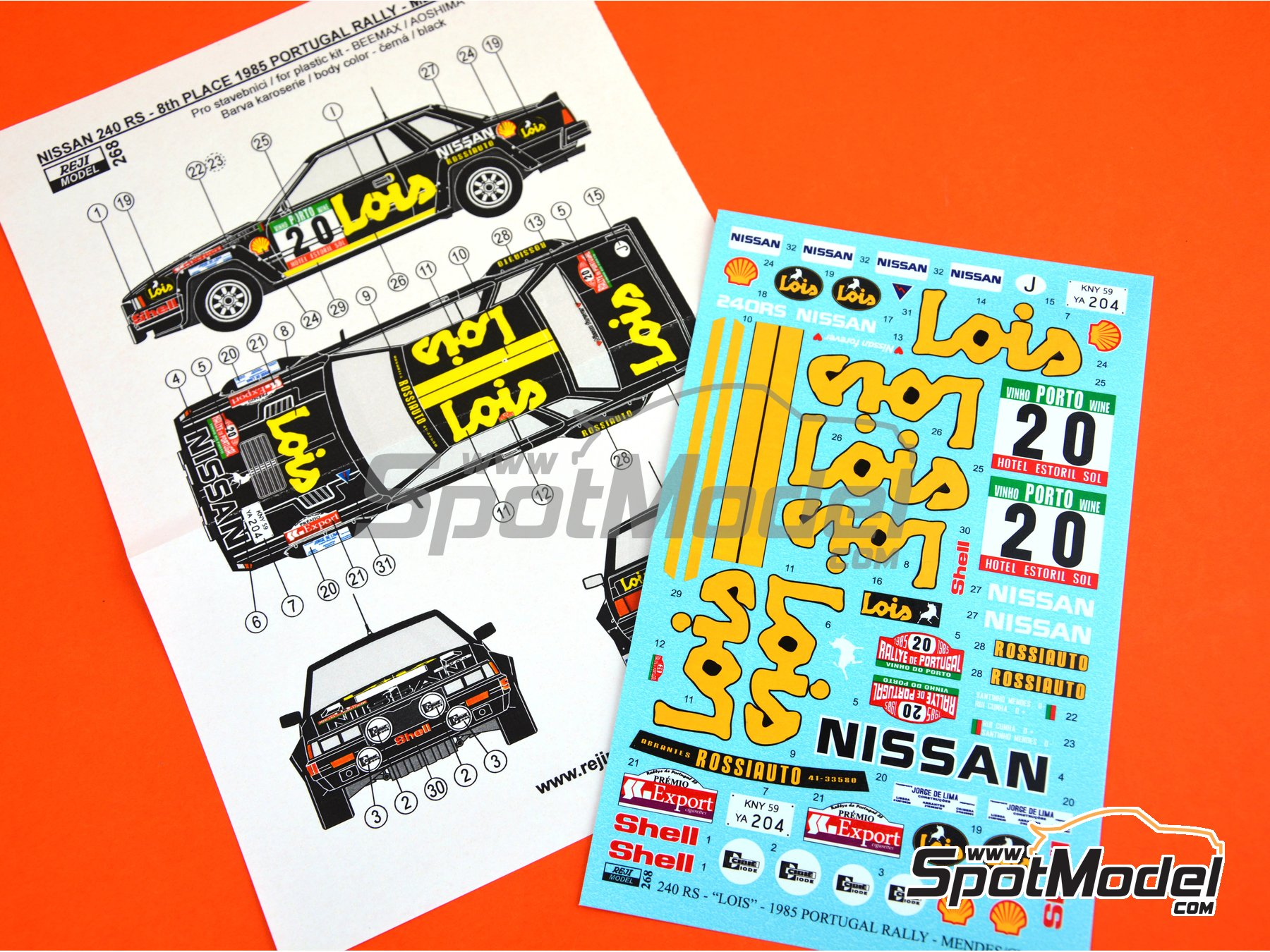Image 4: Nissan 240RS BS110 Grupo B Lois - Rally de Portugal 1985 | Decoración en escala 1/24 fabricado por Reji Model (ref. REJI-268)