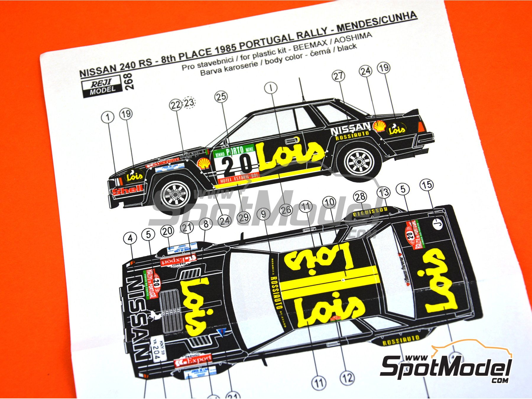 Image 5: Nissan 240RS BS110 Grupo B Lois - Rally de Portugal 1985 | Decoración en escala 1/24 fabricado por Reji Model (ref. REJI-268)
