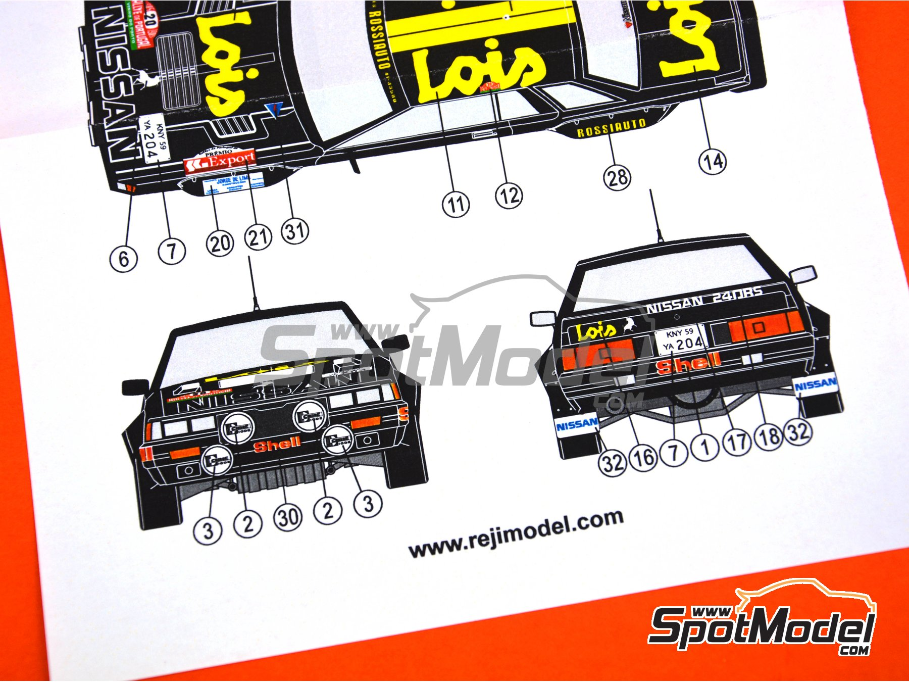 Image 6: Nissan 240RS BS110 Grupo B Lois - Rally de Portugal 1985 | Decoración en escala 1/24 fabricado por Reji Model (ref. REJI-268)