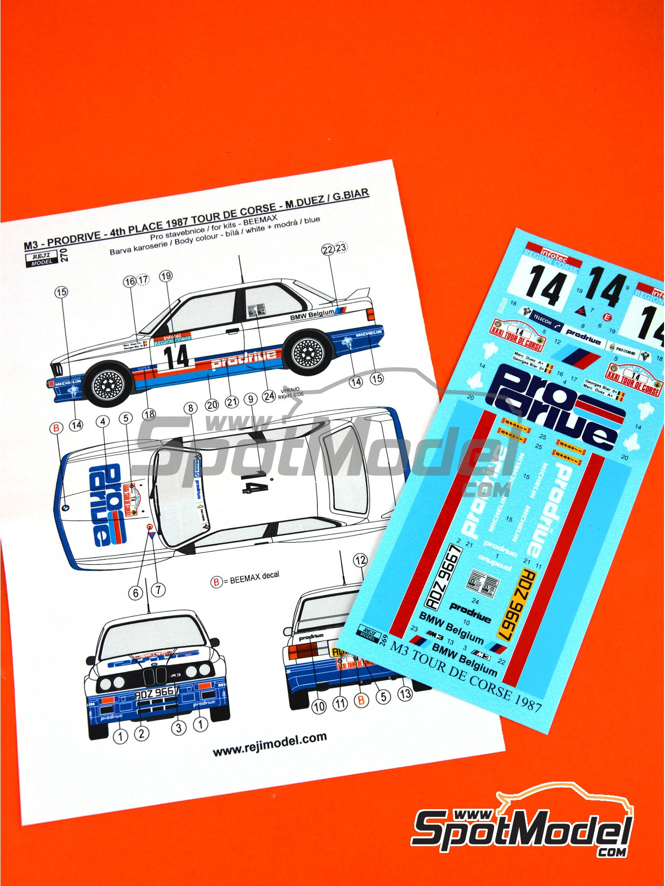 BMW M3 E30 - Tour de Corse 1987 | Marking / livery in 1/24 scale manufactured by Reji Model (ref. REJI-270) image