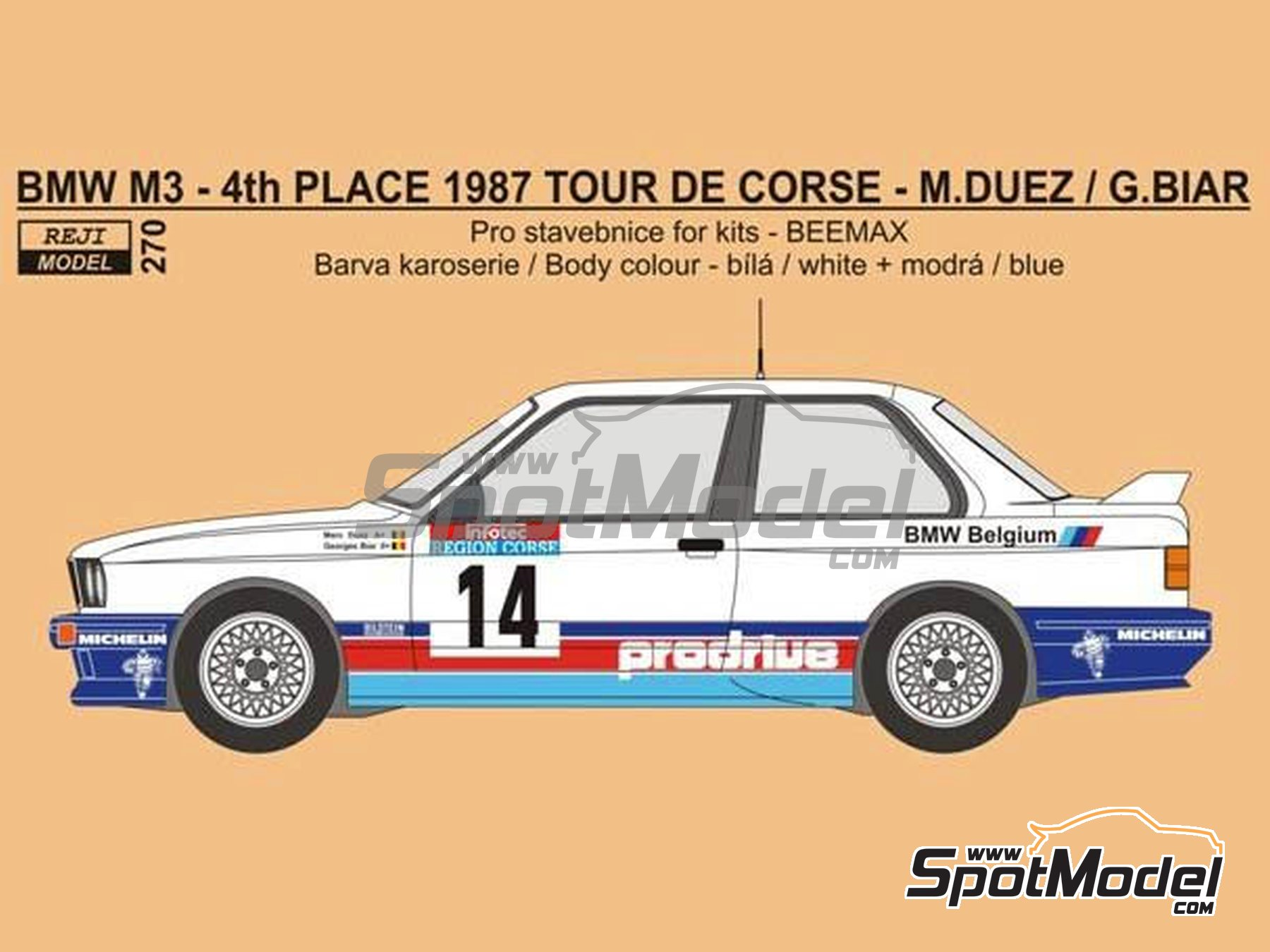 Image 1: BMW M3 E30 - Tour de Corse 1987 | Marking / livery in 1/24 scale manufactured by Reji Model (ref. REJI-270)