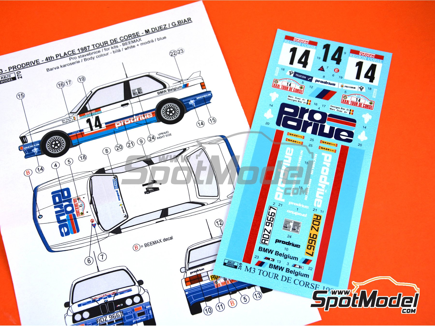 Image 3: BMW M3 E30 - Tour de Corse 1987 | Marking / livery in 1/24 scale manufactured by Reji Model (ref. REJI-270)