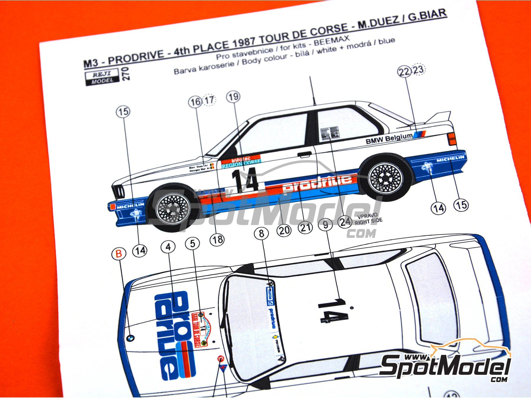 Image 4: BMW M3 E30 - Tour de Corse 1987 | Marking / livery in 1/24 scale manufactured by Reji Model (ref. REJI-270)