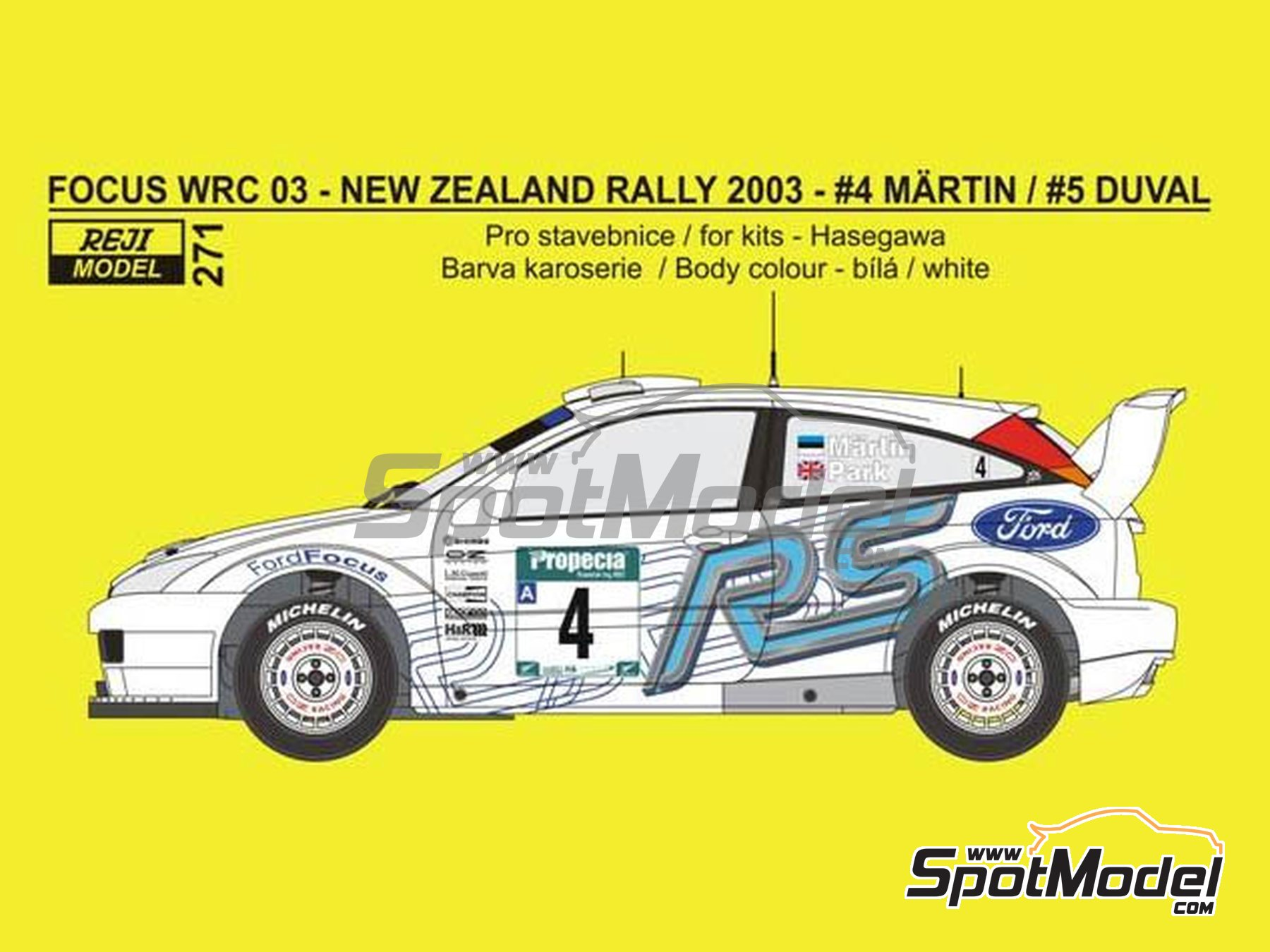 Image 1: Ford Focus WRC - New Zealand rally 2003 | Marking / livery in 1/24 scale manufactured by Reji Model (ref. REJI-271)