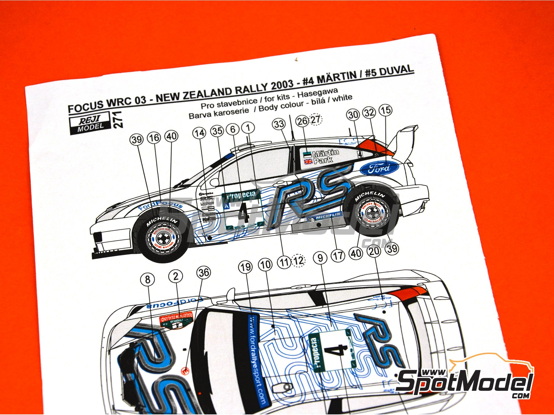 Image 4: Ford Focus WRC - New Zealand rally 2003 | Marking / livery in 1/24 scale manufactured by Reji Model (ref. REJI-271)