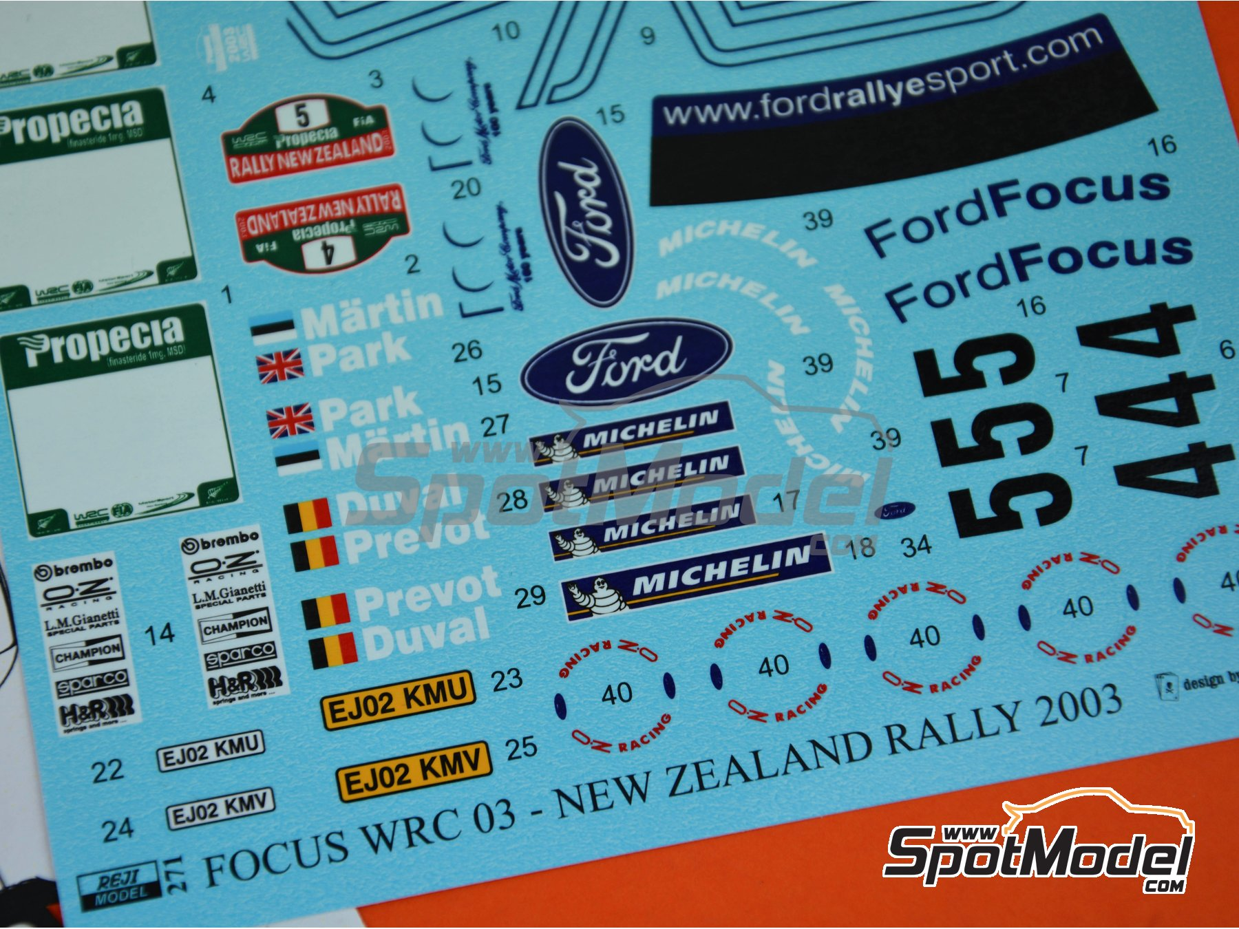 Image 8: Ford Focus WRC - New Zealand rally 2003 | Marking / livery in 1/24 scale manufactured by Reji Model (ref. REJI-271)