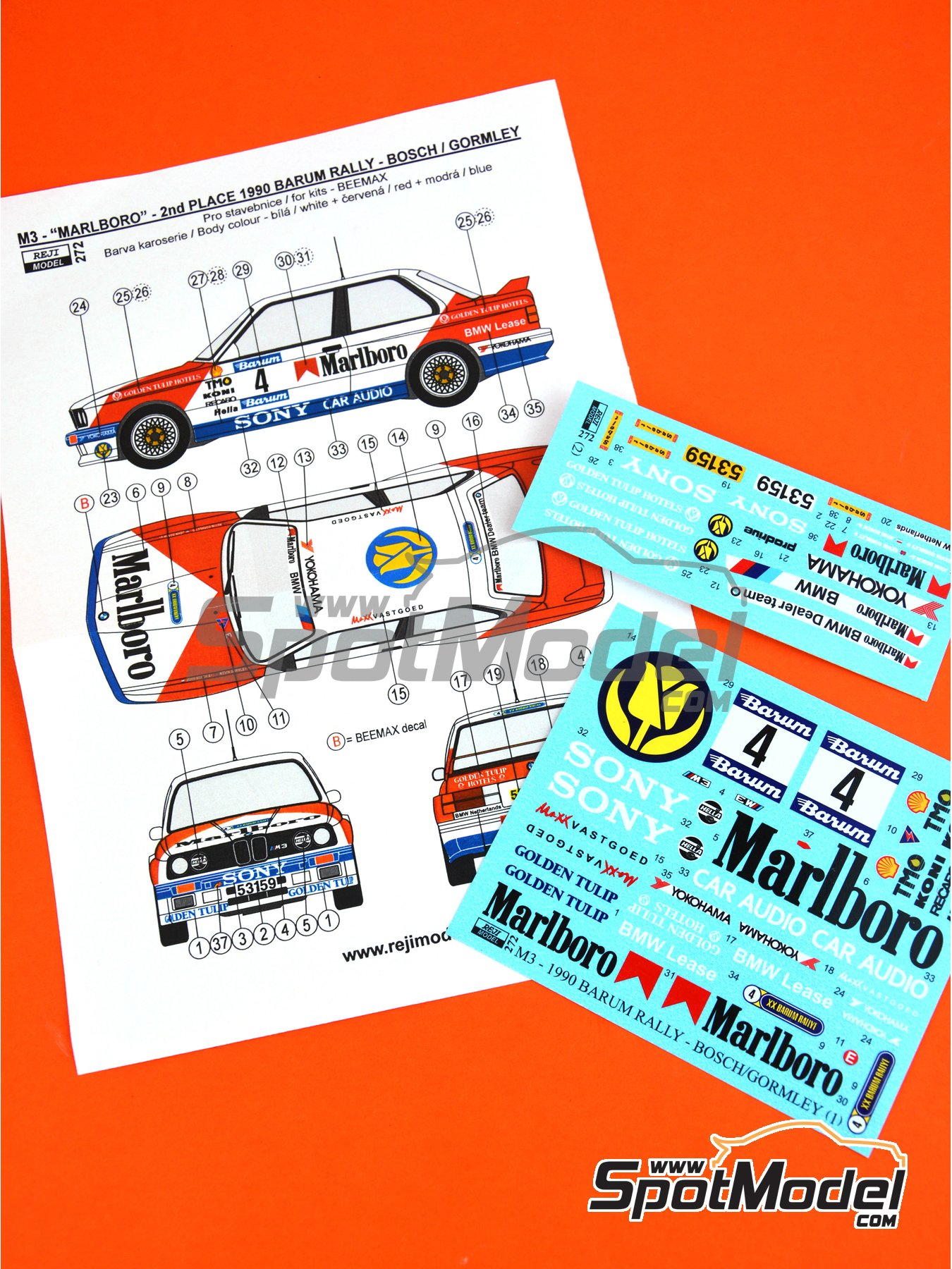 BMW M3 E30 - Barum Czech Rally 1990 | Marking / livery in 1/24 scale manufactured by Reji Model (ref. REJI-272) image