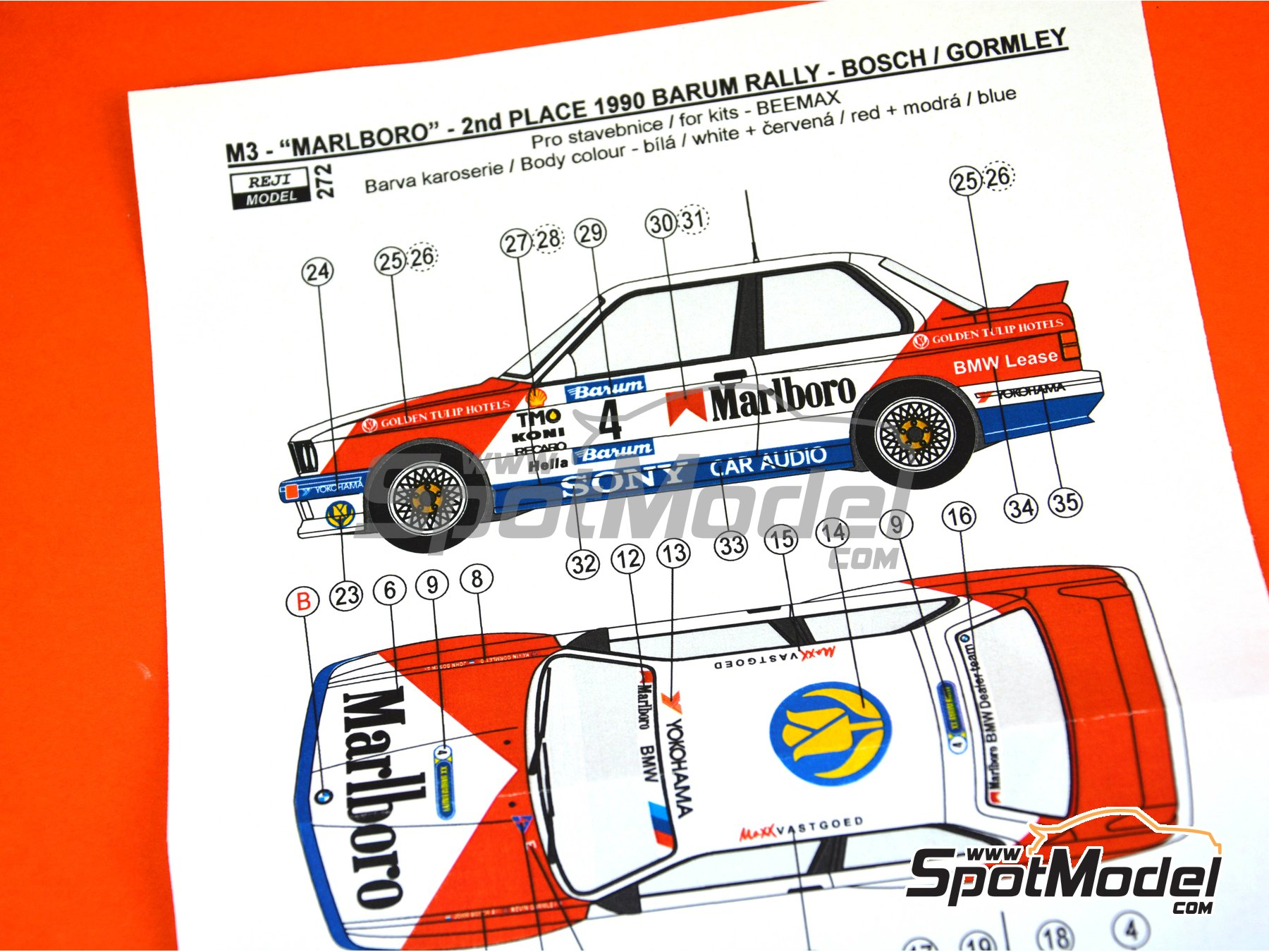 Image 3: BMW M3 E30 Marlboro - Rally Barum de la Republica Checa 1990 | Decoración en escala 1/24 fabricado por Reji Model (ref. REJI-272)