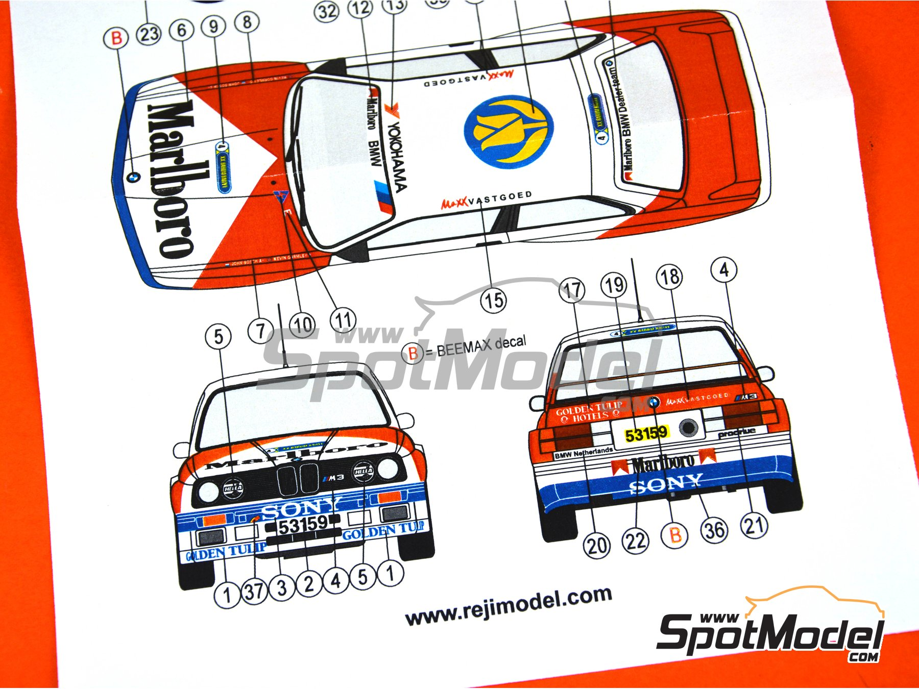 Image 4: BMW M3 E30 Marlboro - Rally Barum de la Republica Checa 1990 | Decoración en escala 1/24 fabricado por Reji Model (ref. REJI-272)