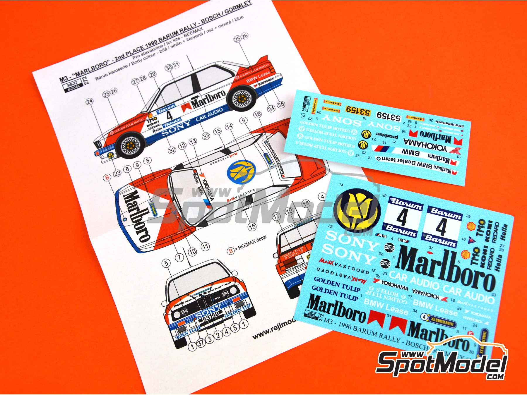 Image 7: BMW M3 E30 Marlboro - Rally Barum de la Republica Checa 1990 | Decoración en escala 1/24 fabricado por Reji Model (ref. REJI-272)