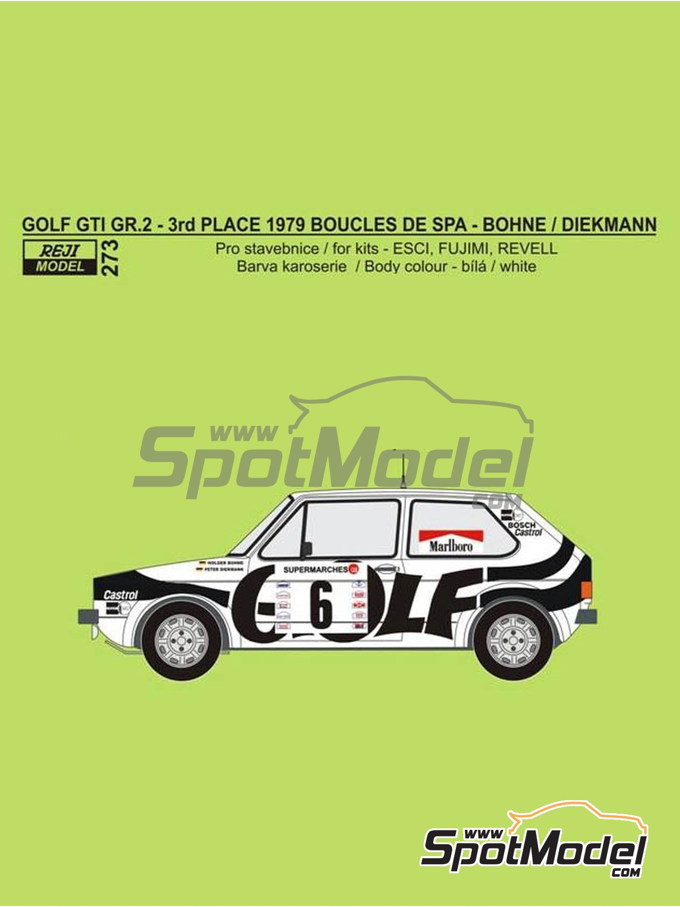 Volkswagen Golf GTI Mk I Group 2 Marlboro - Boucles de SPA 1979 | Marking / livery in 1/24 scale manufactured by Reji Model (ref. REJI-273) image