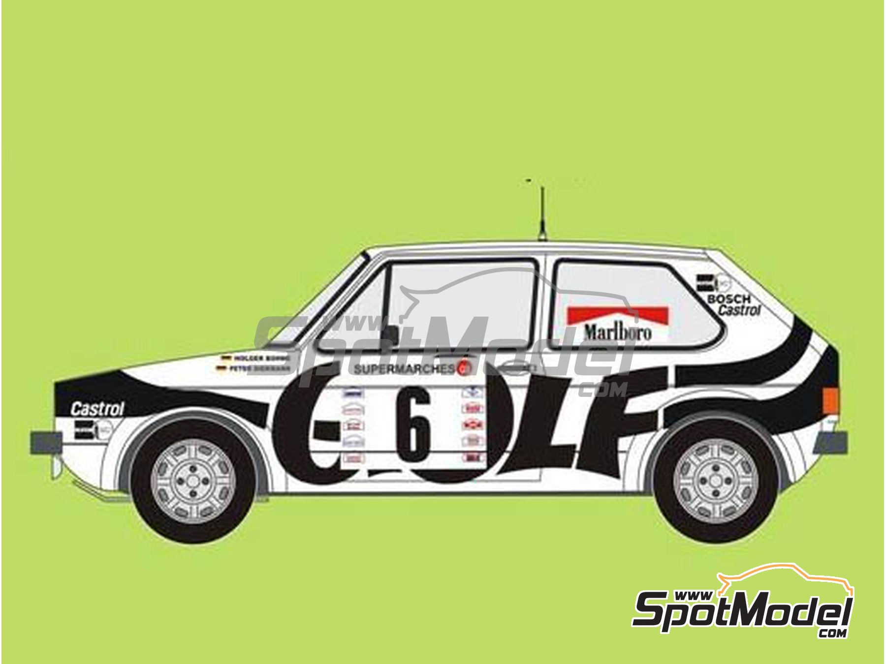 Image 1: Volkswagen Golf GTI Mk I Group 2 Marlboro - Boucles de SPA 1979 | Marking / livery in 1/24 scale manufactured by Reji Model (ref.REJI-273)