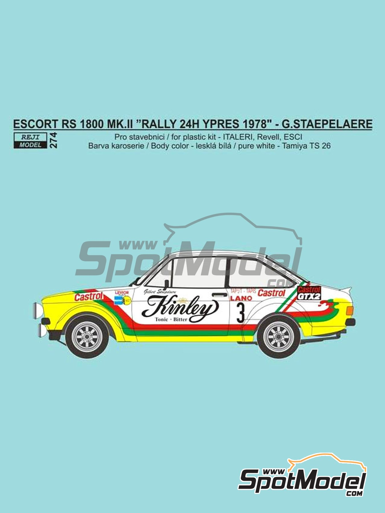 Ford Escort RS 1800 Mk. II Kinley - Ypres Rally 1978 | Marking / livery in 1/24 scale manufactured by Reji Model (ref. REJI-274) image