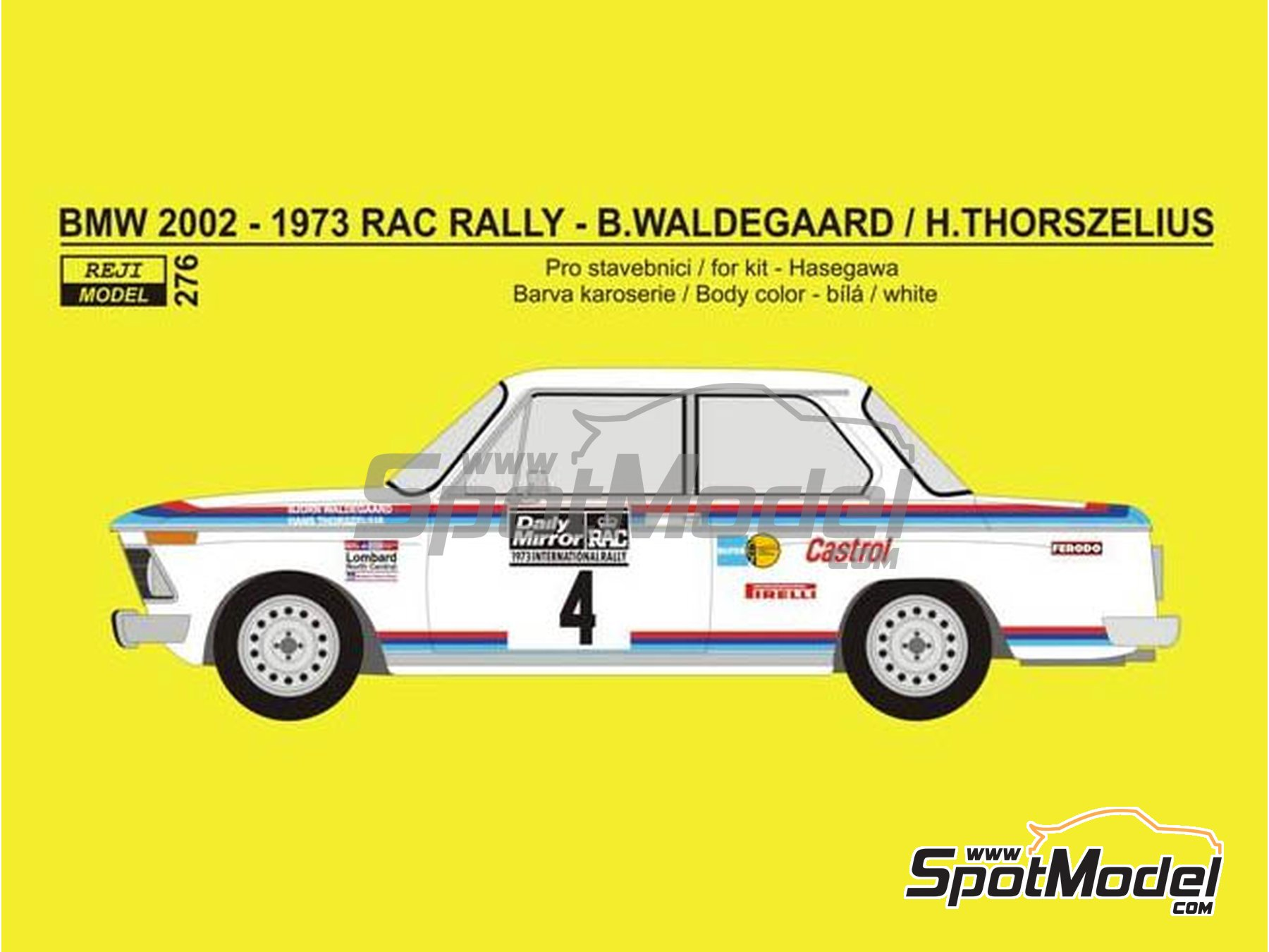 Image 2: BMW 2002 tii Castrol - RAC Rally 1973 | Marking / livery in 1/24 scale manufactured by Reji Model (ref. REJI-276)