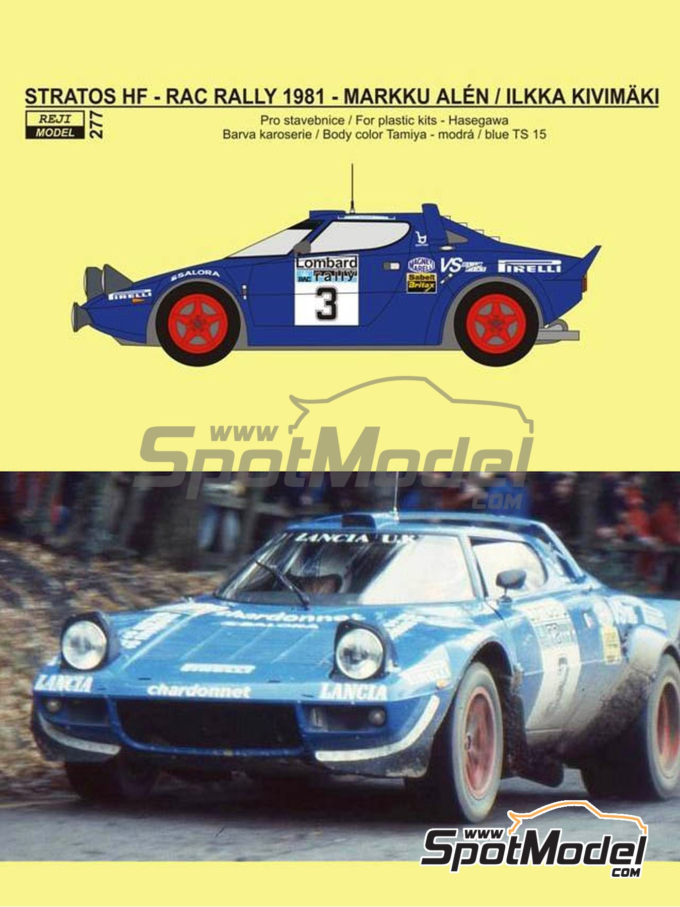 Lancia Stratos HF Pirelli - Great Britain RAC Rally 1981 | Marking / livery in 1/24 scale manufactured by Reji Model (ref. REJI-277) image