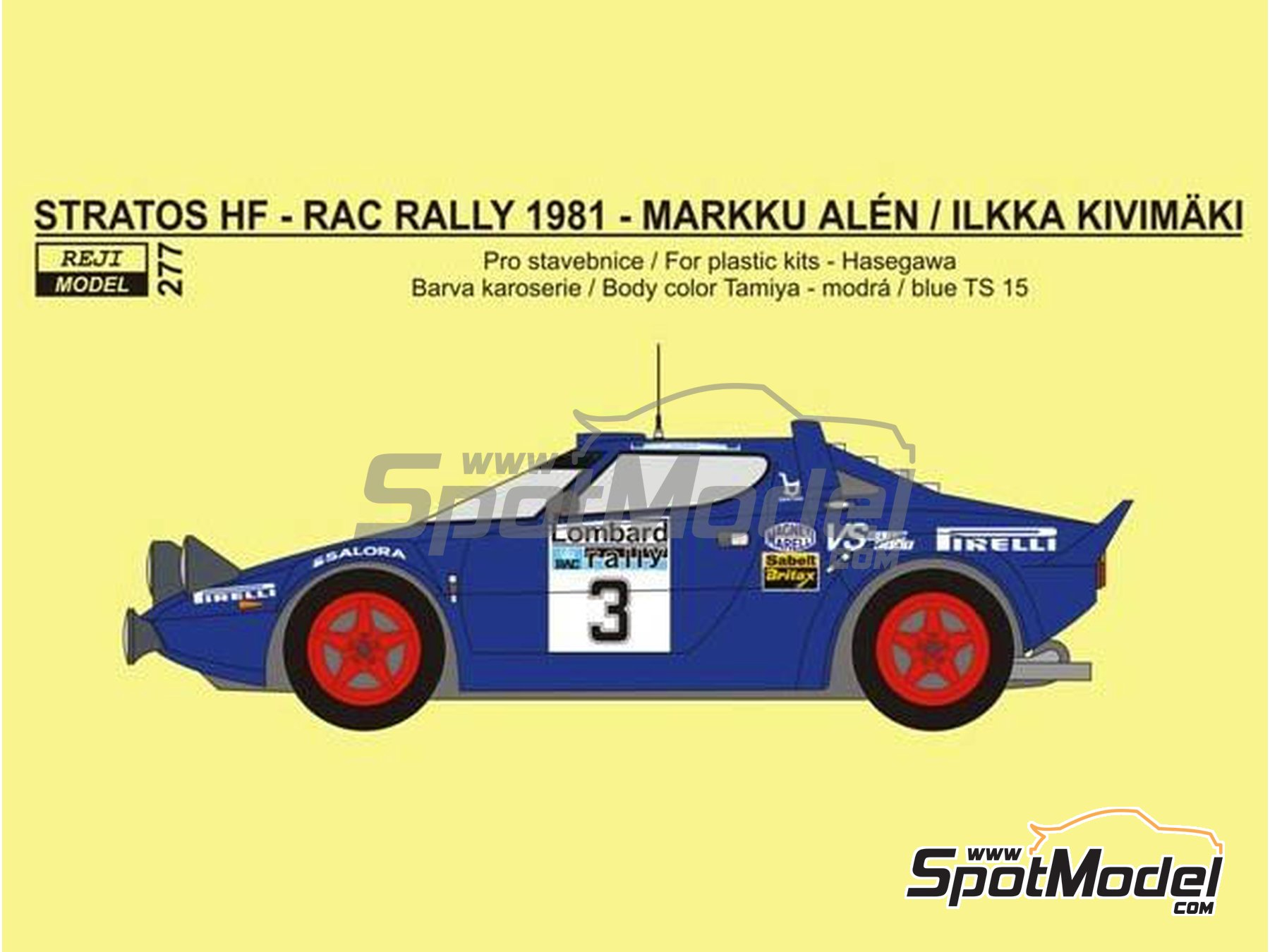 Image 1: Lancia Stratos HF Pirelli - Great Britain RAC Rally 1981 | Marking / livery in 1/24 scale manufactured by Reji Model (ref. REJI-277)
