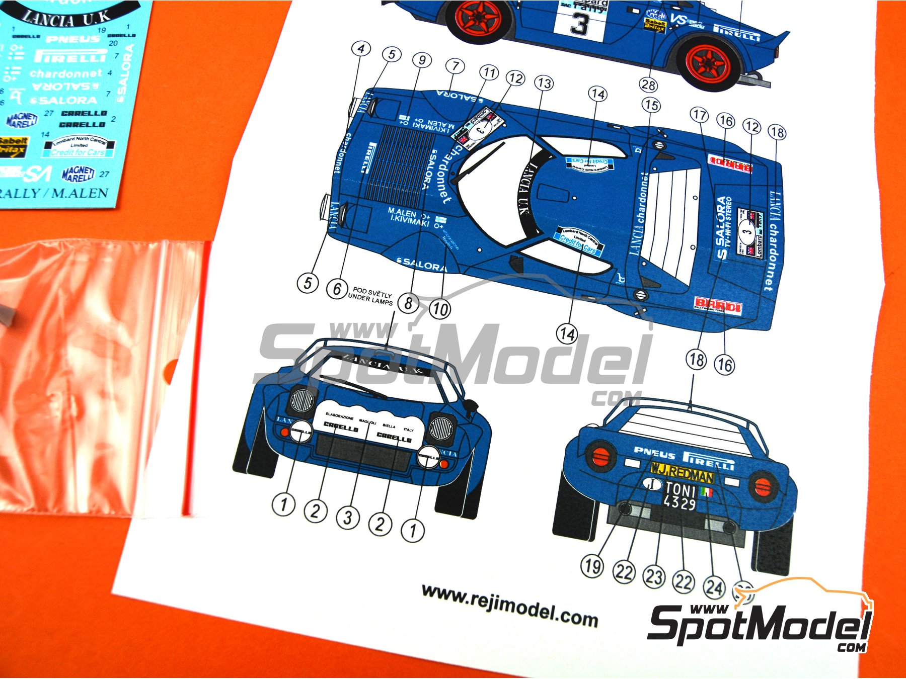 Image 9: Lancia Stratos HF Pirelli - Great Britain RAC Rally 1981 | Marking / livery in 1/24 scale manufactured by Reji Model (ref. REJI-277)