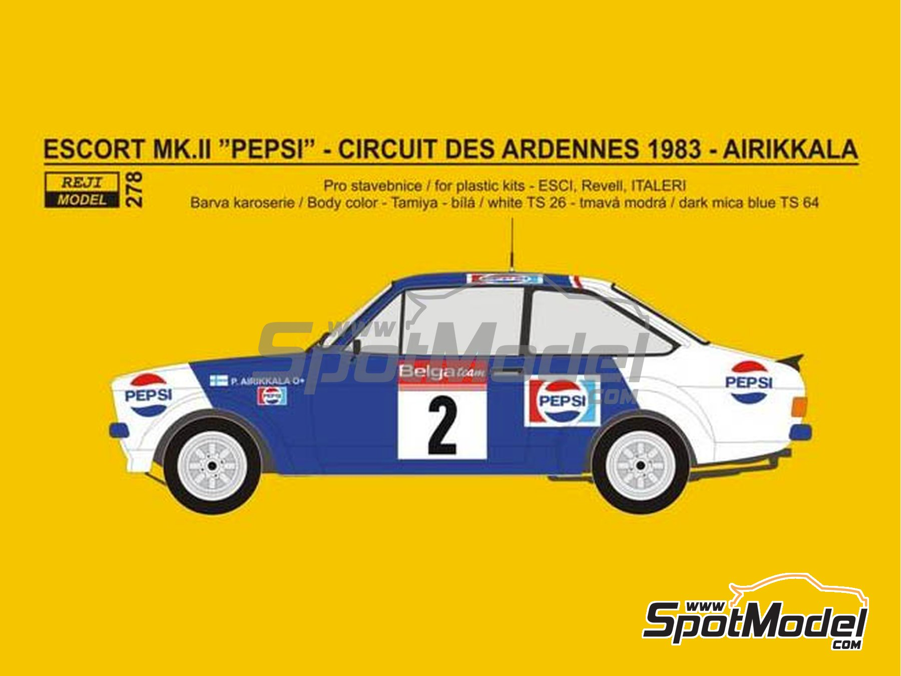 Image 1: Ford Escort Mk. II RS1800 Pepsi - Circuit des Ardennes 1983 | Marking / livery in 1/24 scale manufactured by Reji Model (ref. REJI-278)