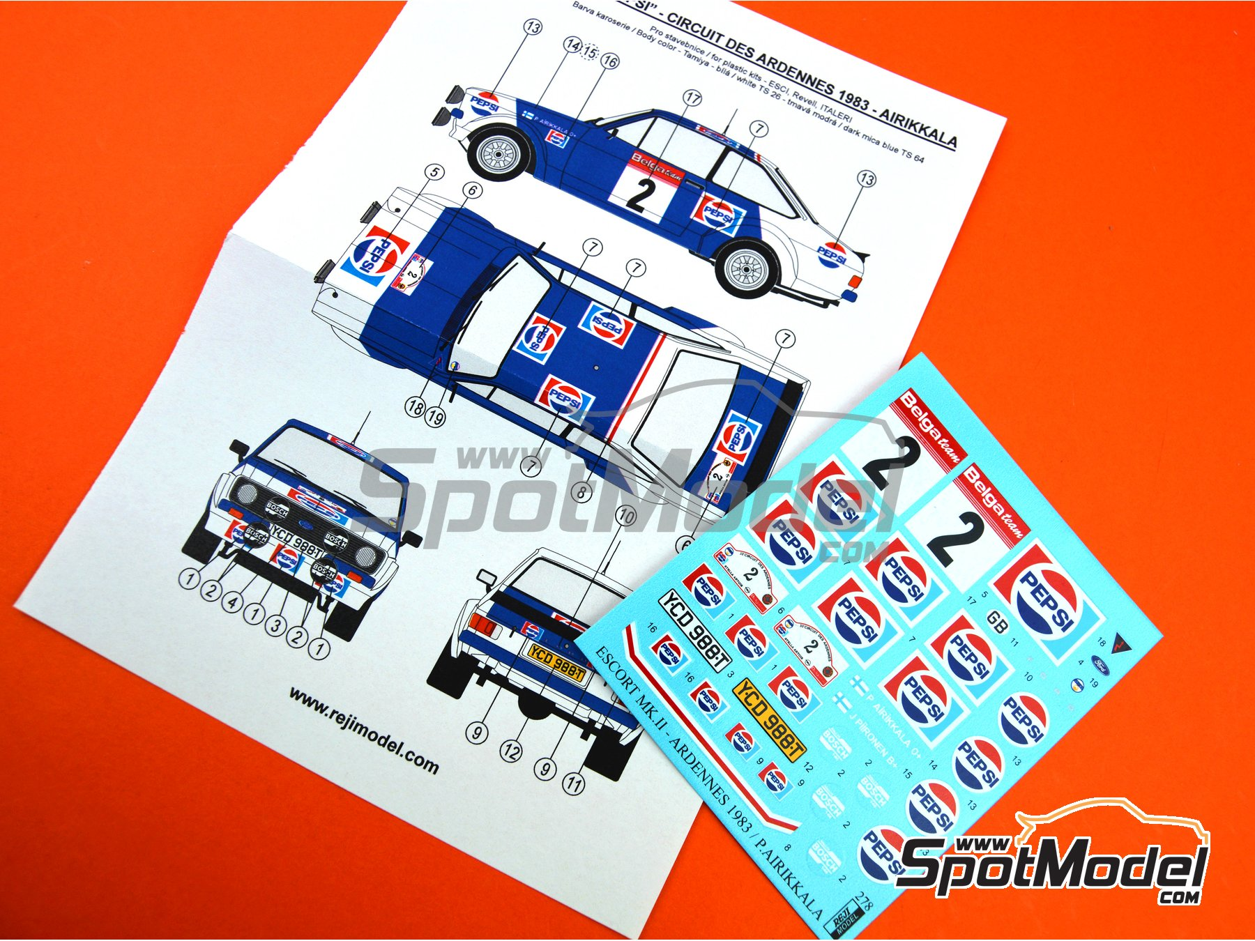 Image 2: Ford Escort Mk. II RS1800 Pepsi - Circuit des Ardennes 1983 | Marking / livery in 1/24 scale manufactured by Reji Model (ref. REJI-278)