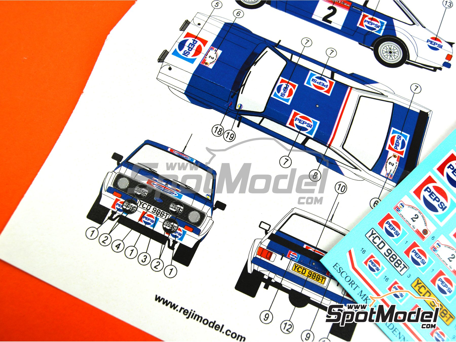 Image 4: Ford Escort Mk. II RS1800 Pepsi - Circuit des Ardennes 1983 | Marking / livery in 1/24 scale manufactured by Reji Model (ref. REJI-278)
