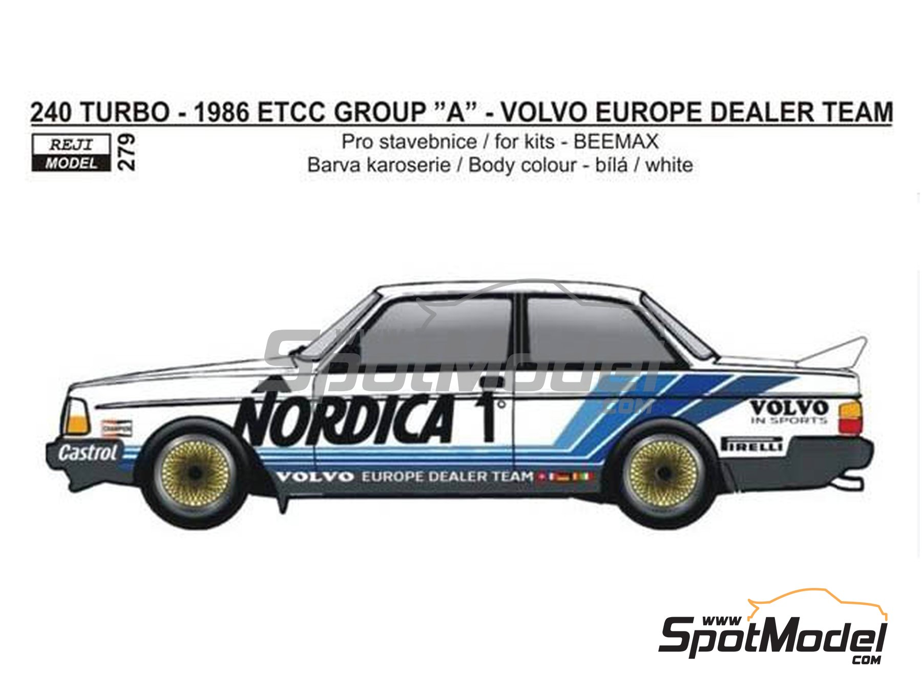 Image 1: Volvo 240 Turbo Volvo Europe Dealer Team - Campeonato Europeo de Turismos ETCC 1986 | Decoración en escala 1/24 fabricado por Reji Model (ref. REJI-279)