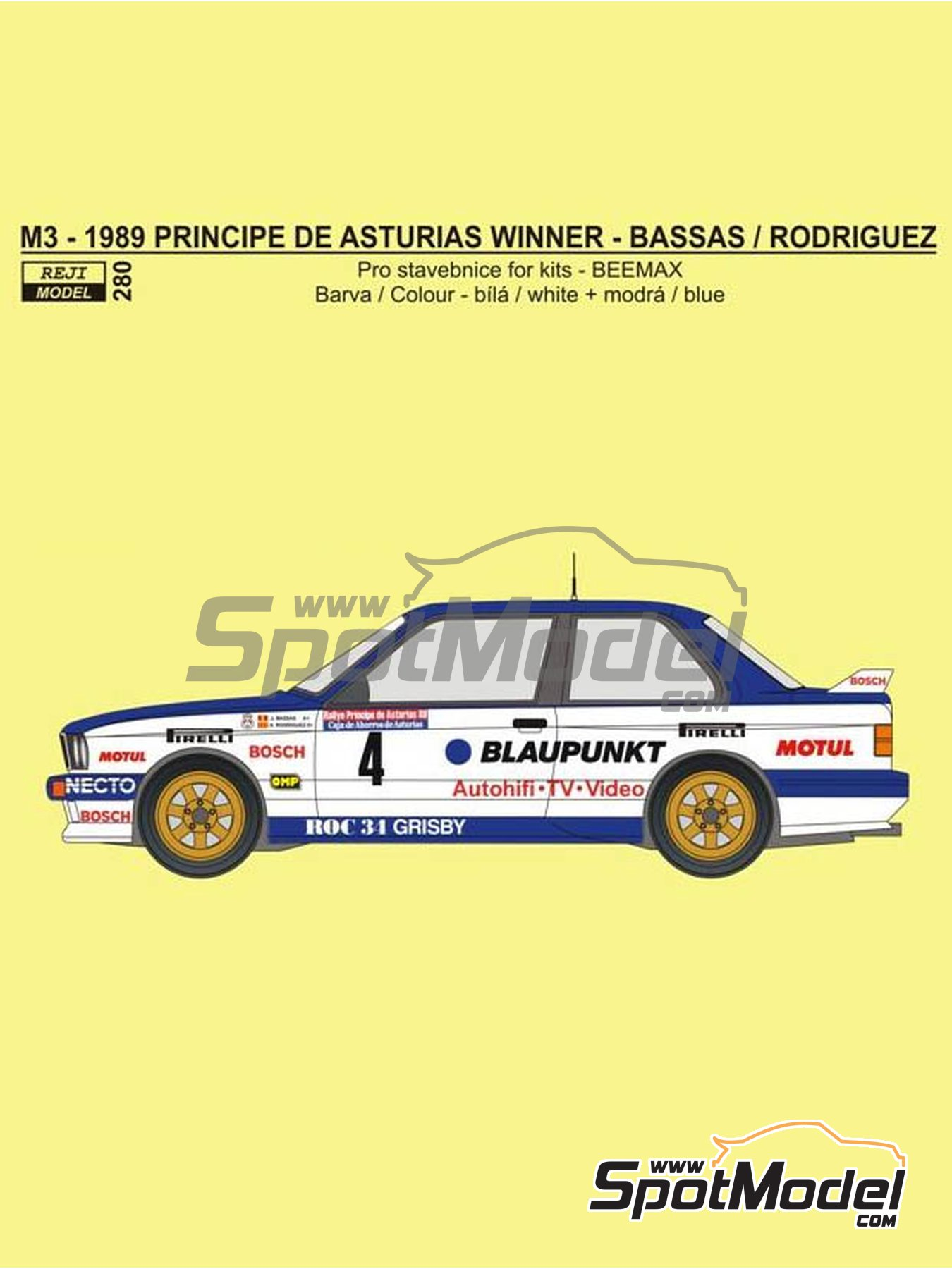 BMW M3 E30 Blaupunkt - Principe de Asturias Rally 1989 | Marking / livery in 1/24 scale manufactured by Reji Model (ref. REJI-280) image
